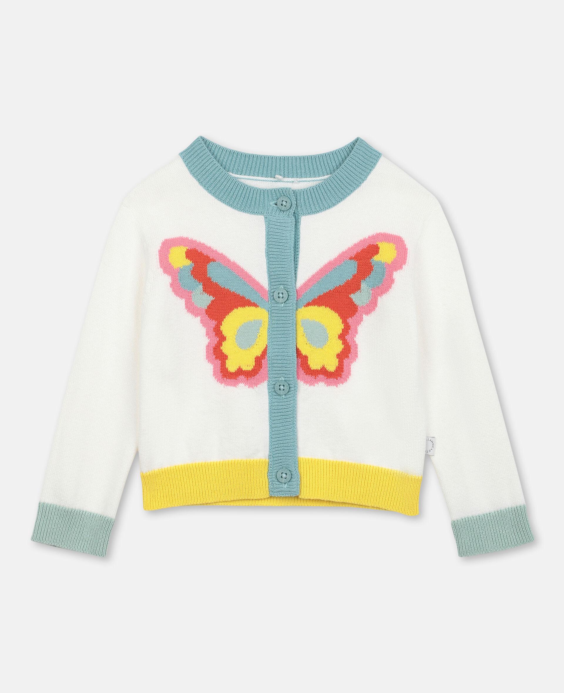 Jacke aus Strick mit Schmetterling-Intarsie -Weiß-large image number 0