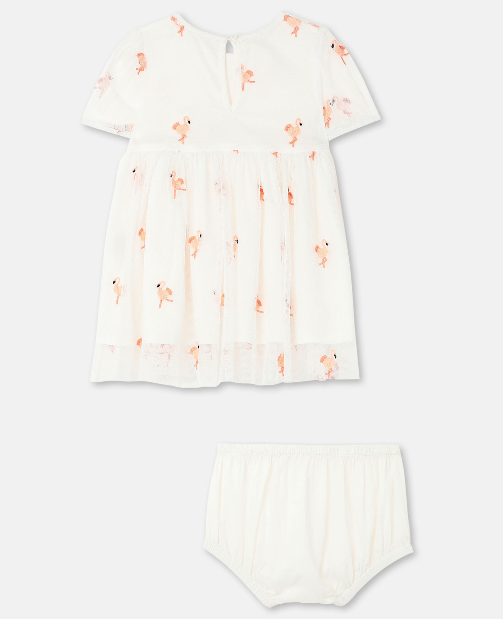 Embroidered Flamingo Tulle Dress-White-large image number 3