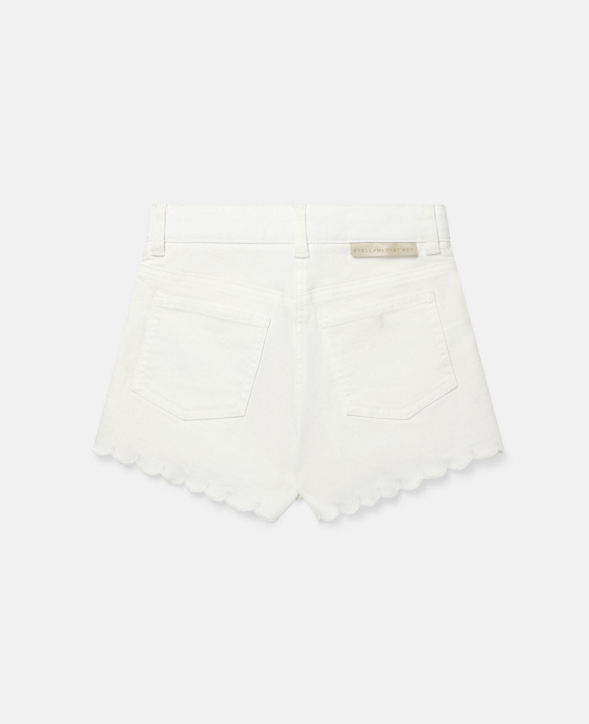 Denim-Shorts mit Blumenstickerei-Weiß-large image number 3