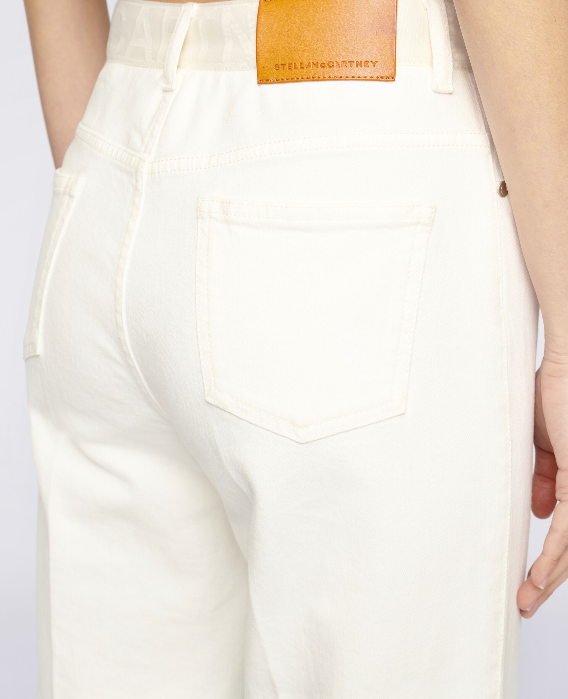 Logo Denim Trousers-White-large image number 3