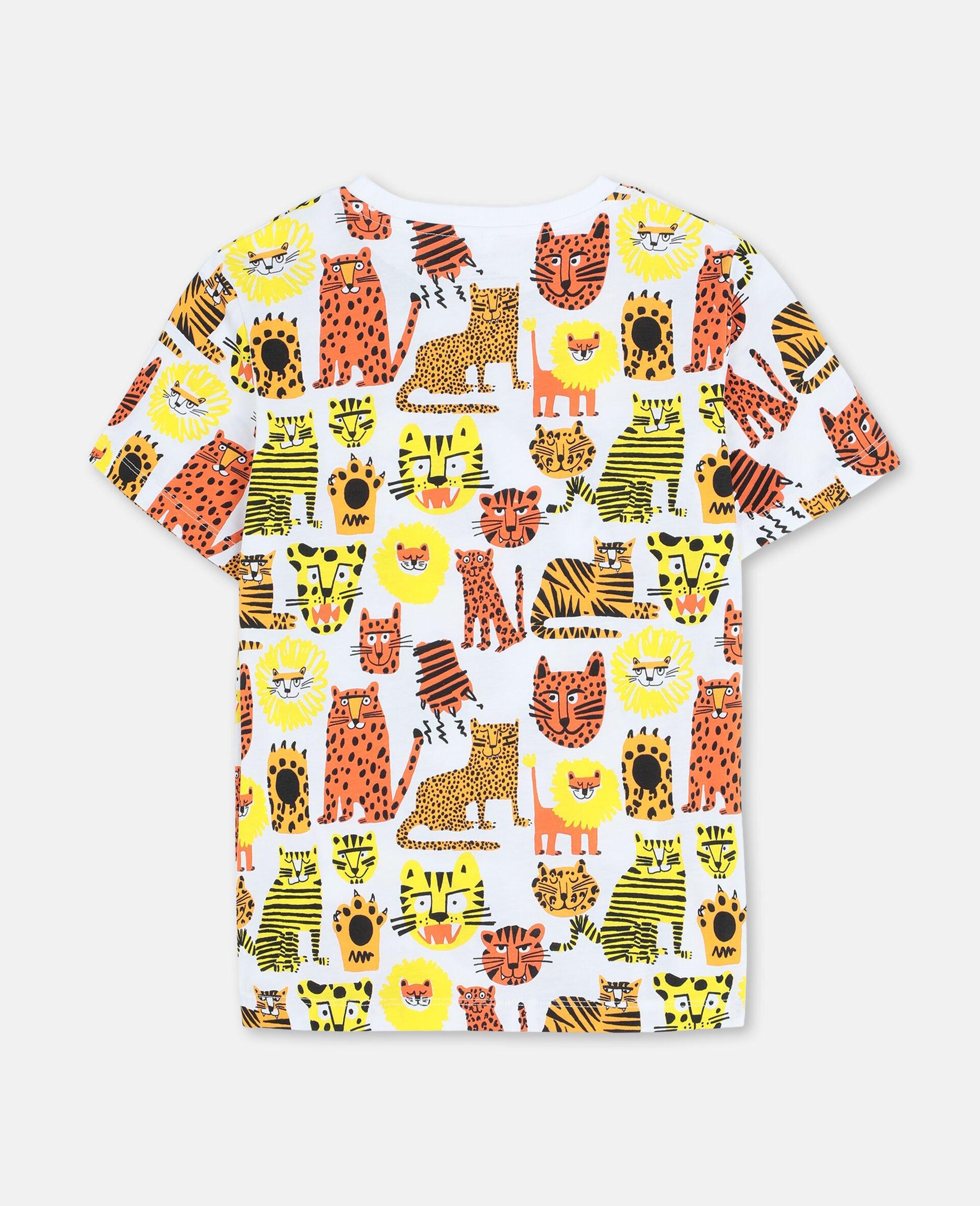 Baumwoll-T-Shirt mit Wildkatzen-Print -Gelb-large image number 3