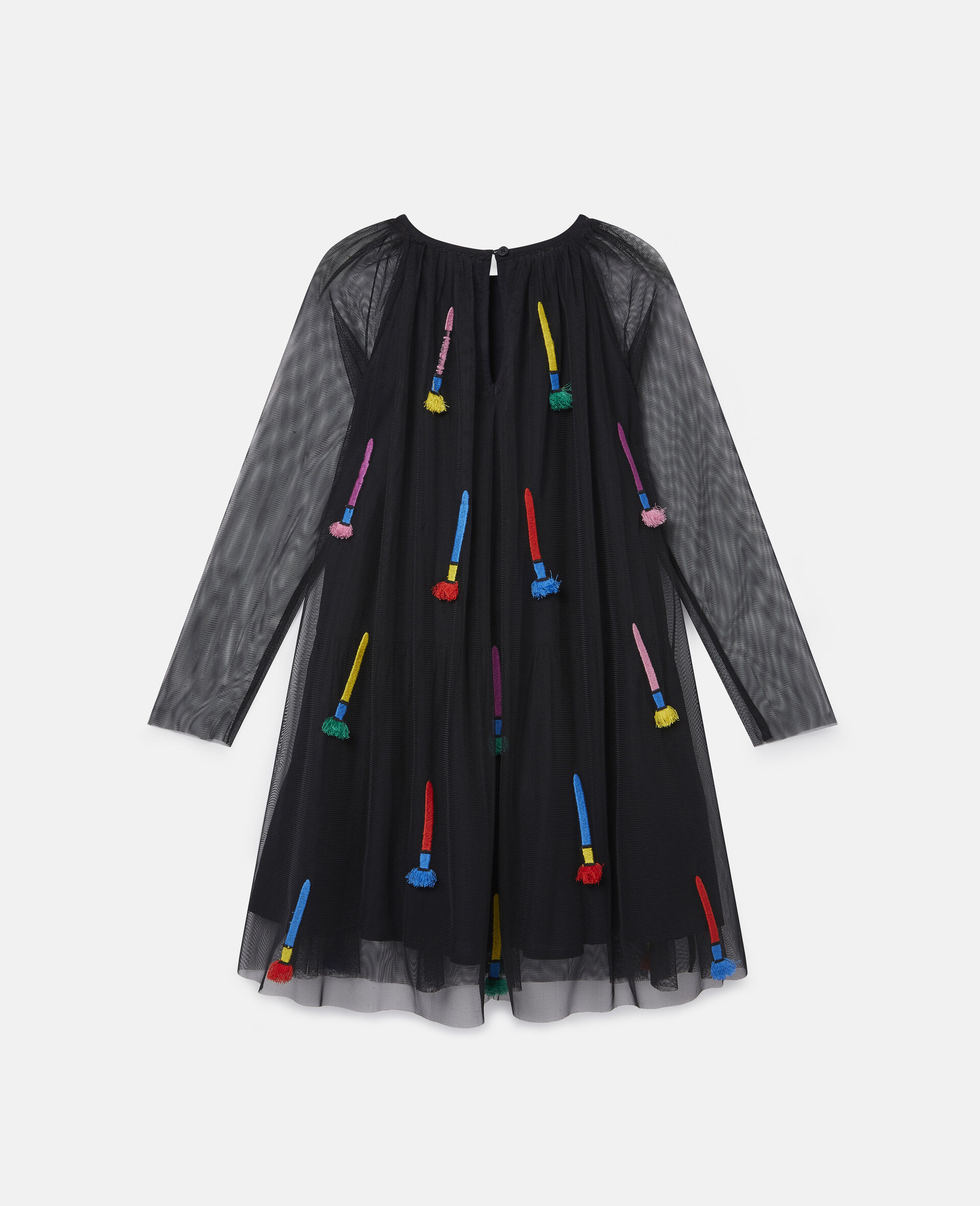 Embroidered Paintbrushes Tulle Dress-Black-large image number 3