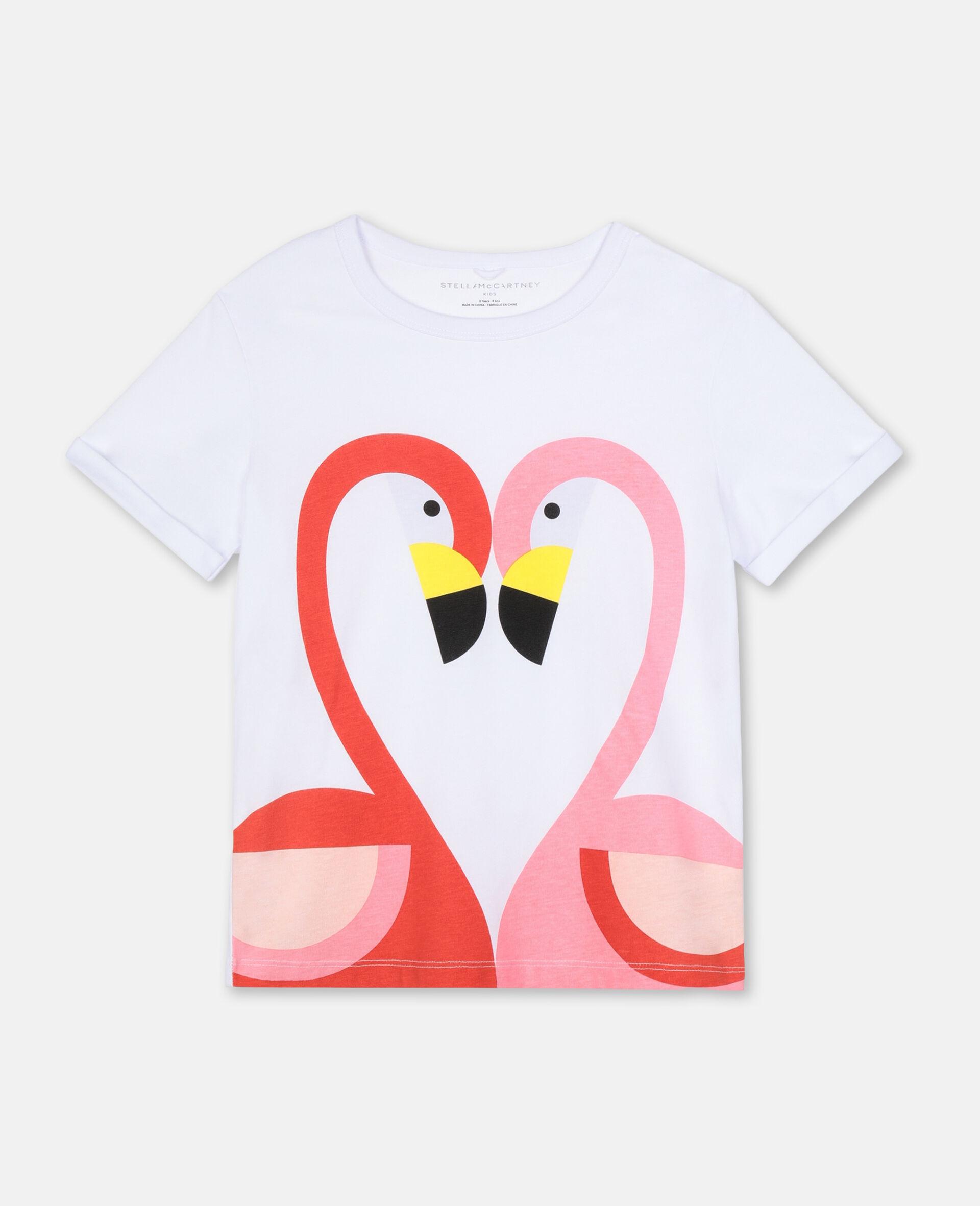 Flamingo Cotton T-shirt-White-large image number 0