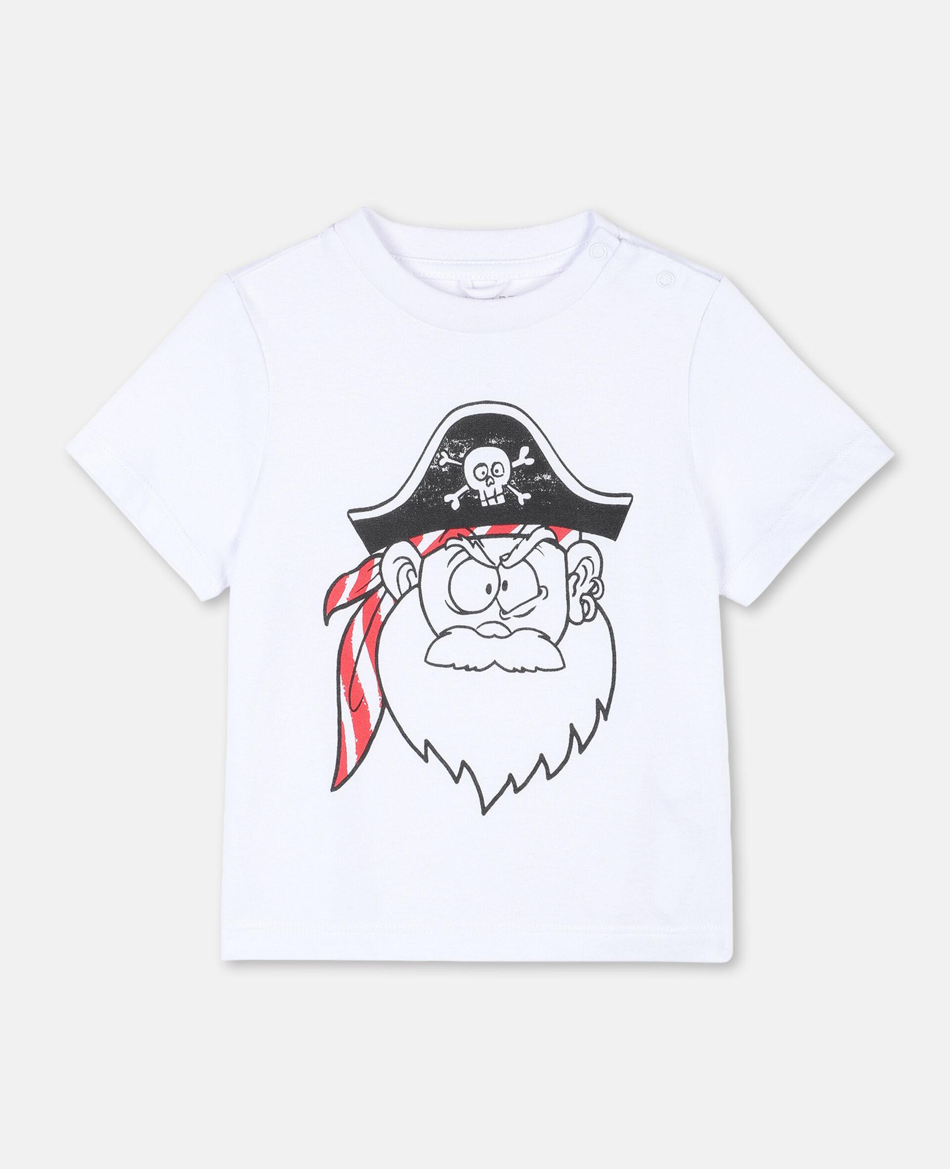 T-shirt à motif tête de pirate rigolote -Blanc-large image number 0