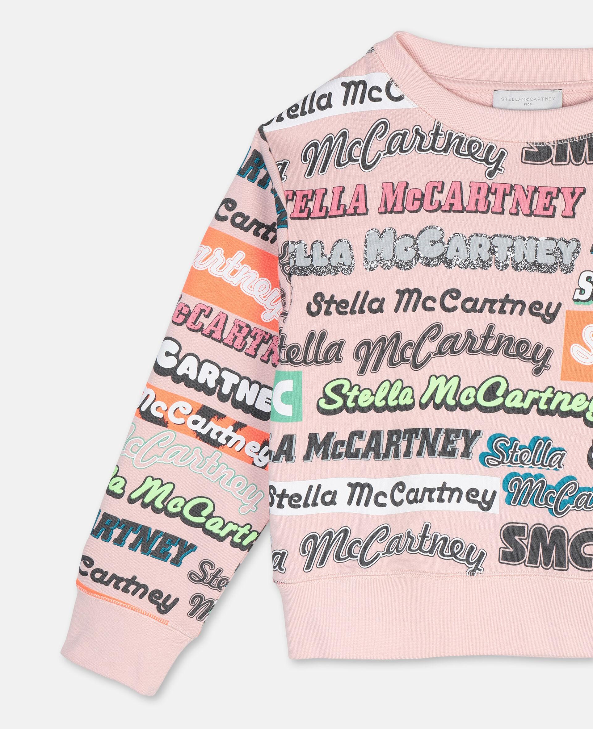 Sweat-shirt de sport en coton avec logo-Rose-large image number 1
