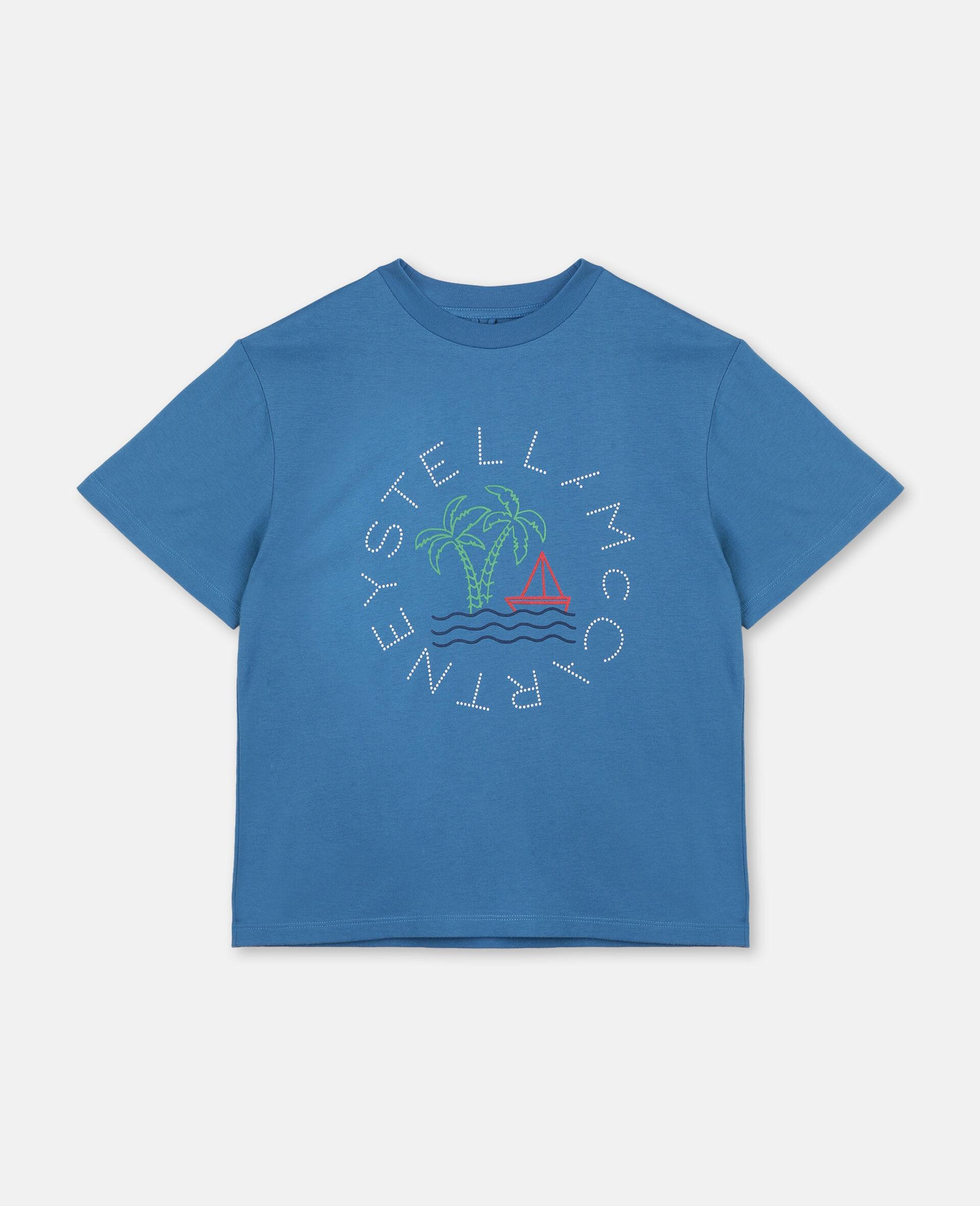 T-shirt oversize en coton à motif logo nautique -Bleu-large image number 0