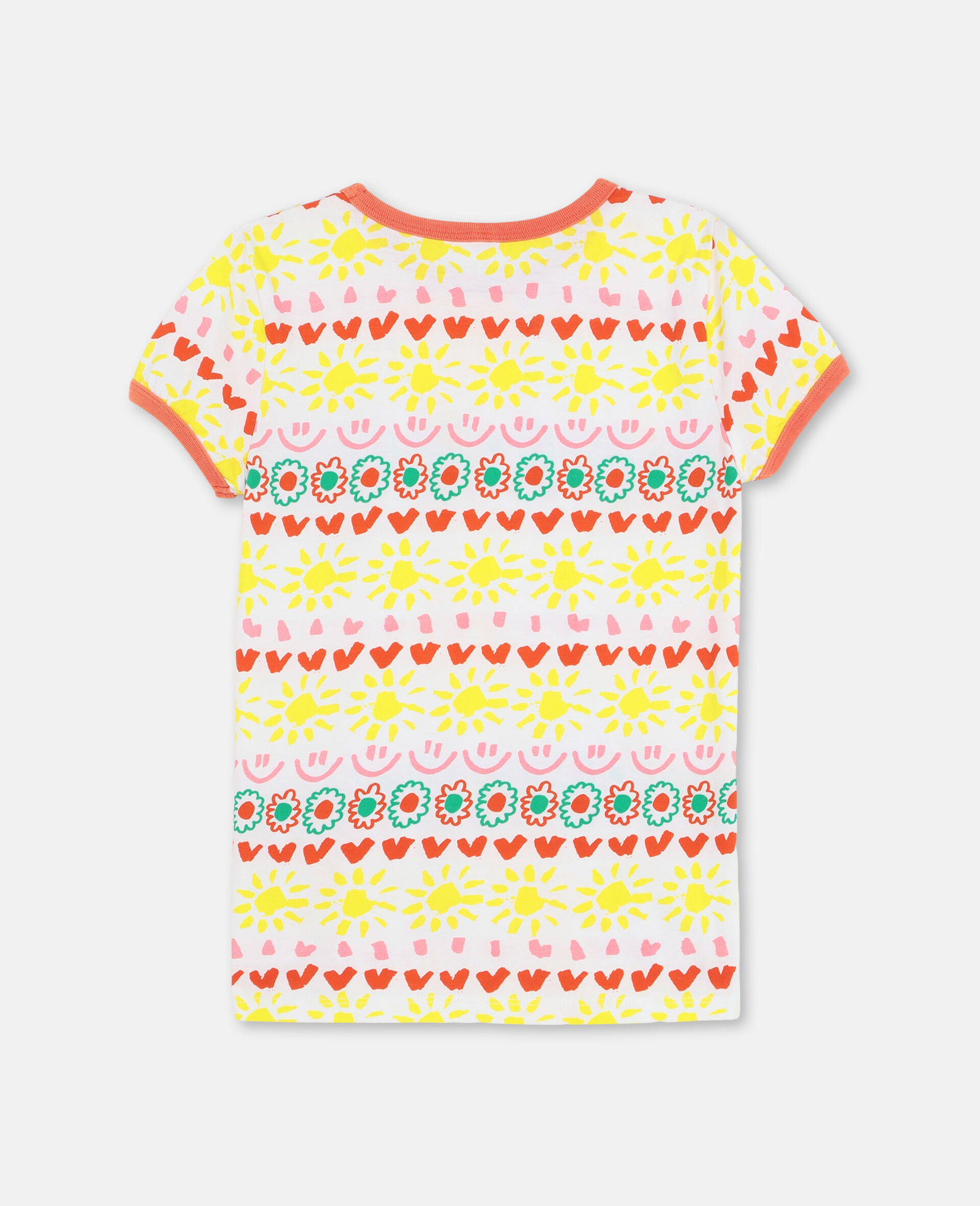 Happy Stripes Cotton T-shirt-Yellow-large image number 3