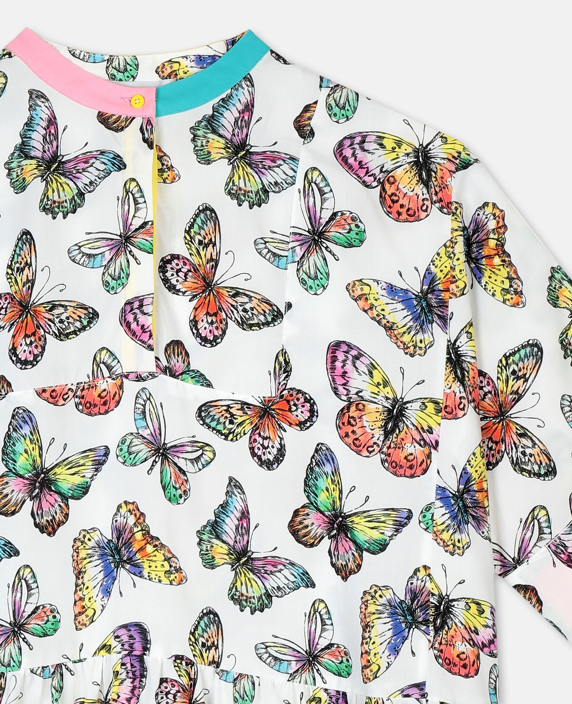 Butterfly阔型粘胶纤维连衣裙-Multicolored-large image number 1