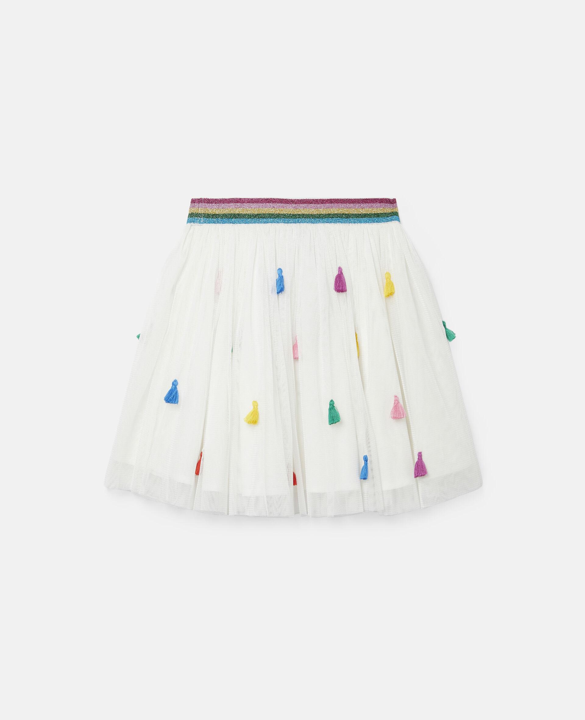 Tassels Tulle Skirt -White-large image number 3