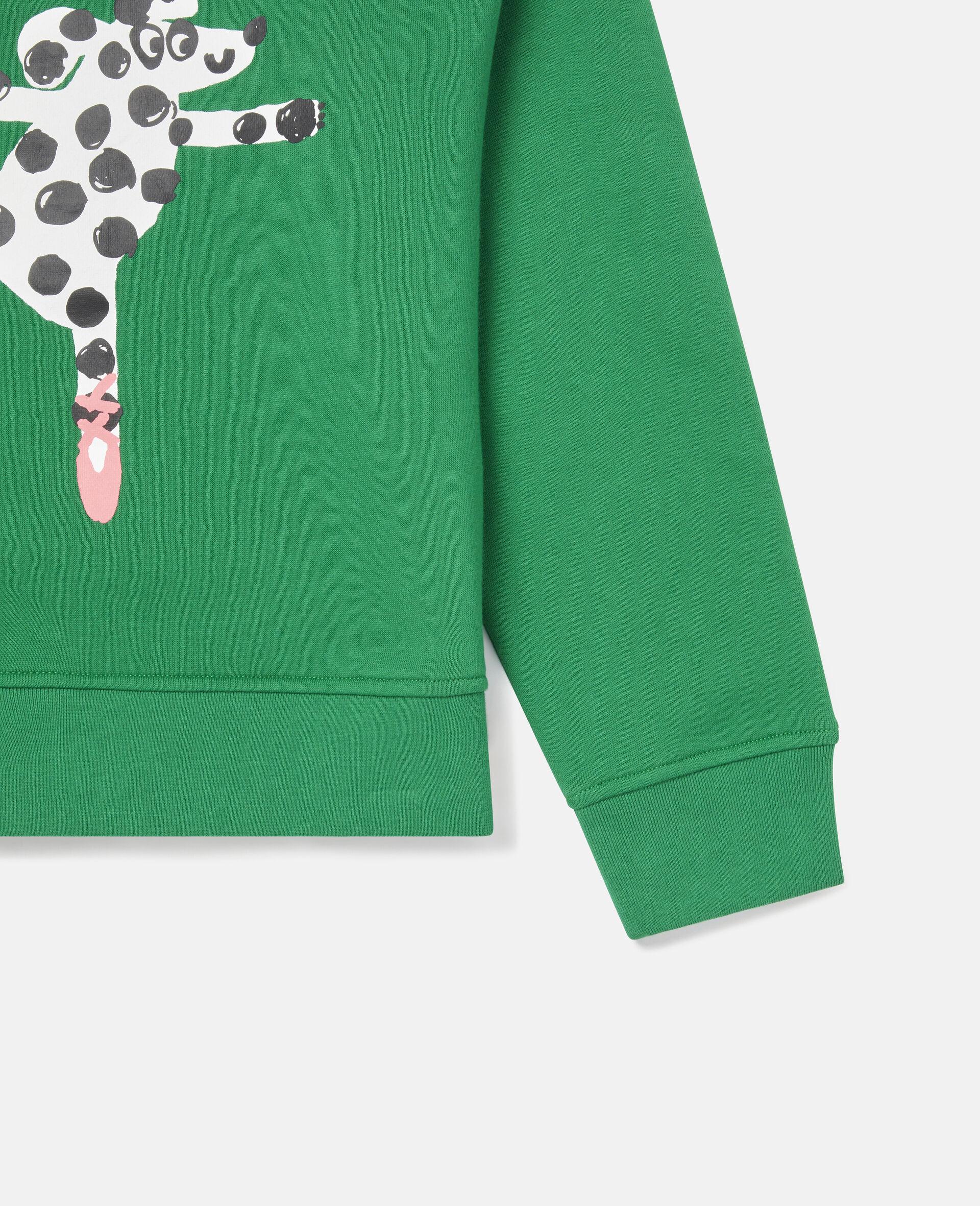 Übergroßes Sweatshirt aus Fleece mit tanzendem Hund -Grün-large image number 2