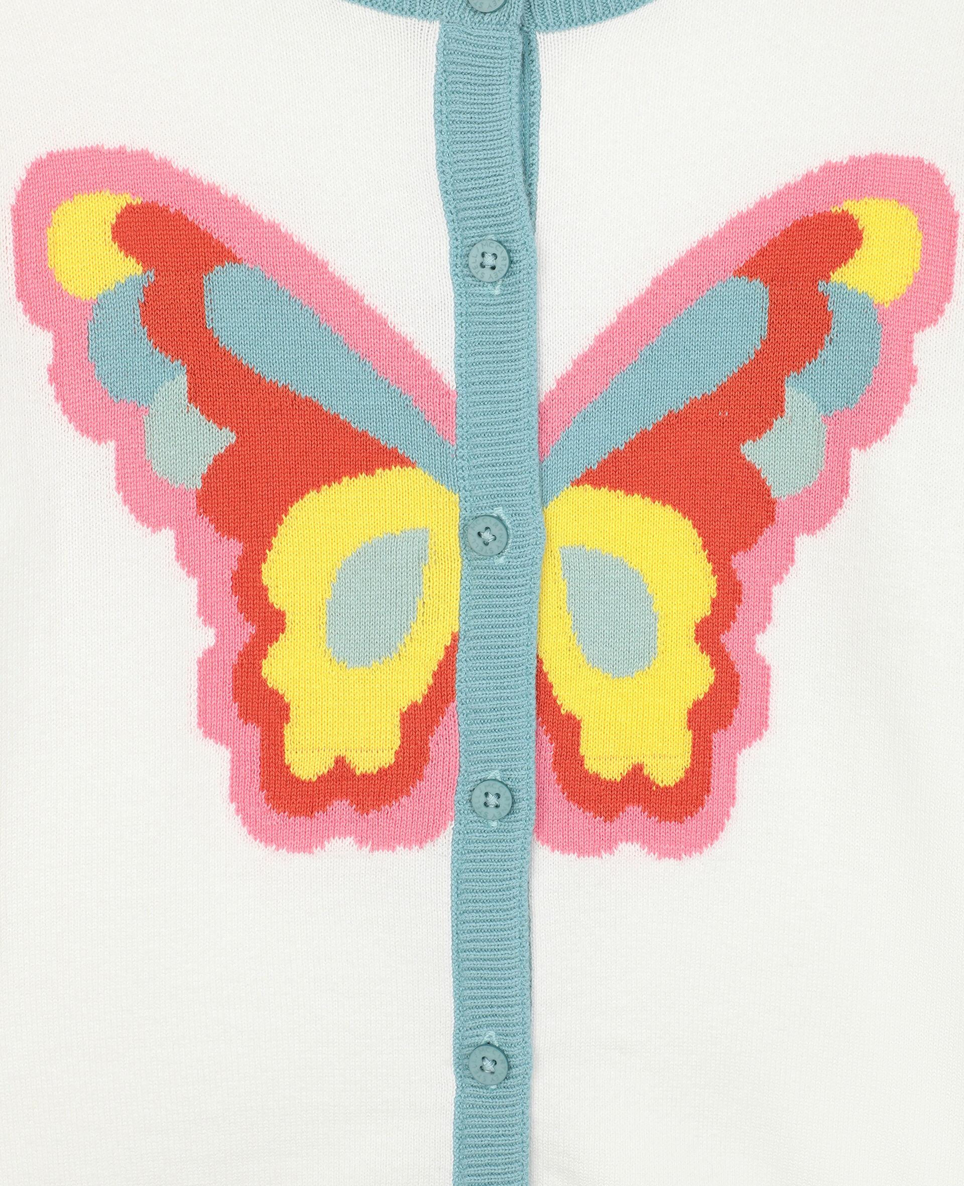 Strickjacke mit Schmetterling-Intarsie -Weiß-large image number 1