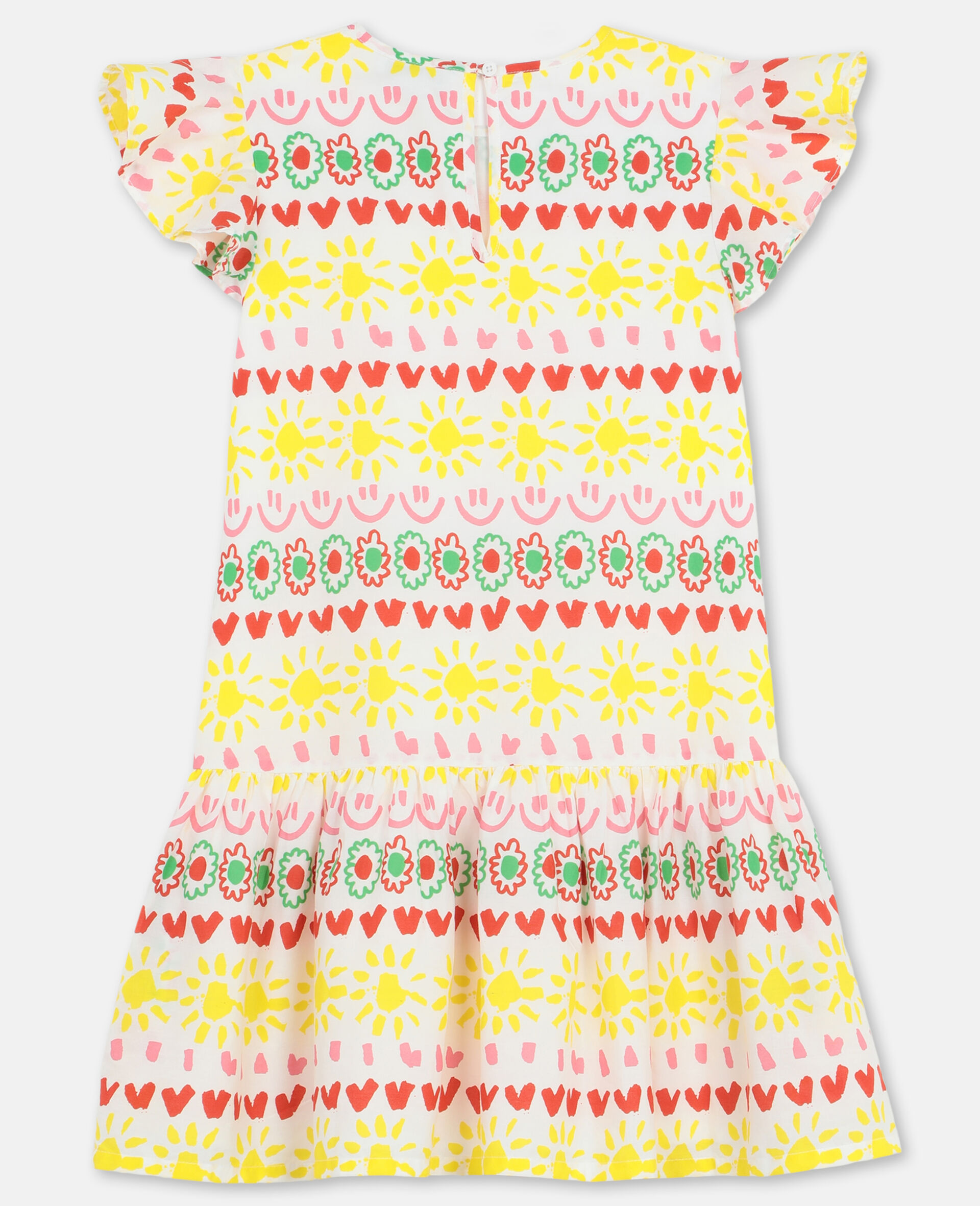 Happy Stripes Cotton Dress-Yellow-large image number 3
