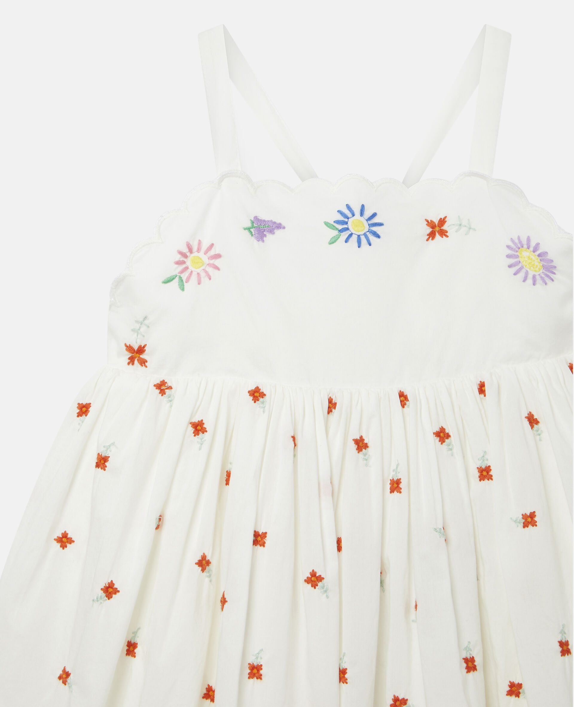 Embroidered Flowers Cotton Dress-White-large image number 2
