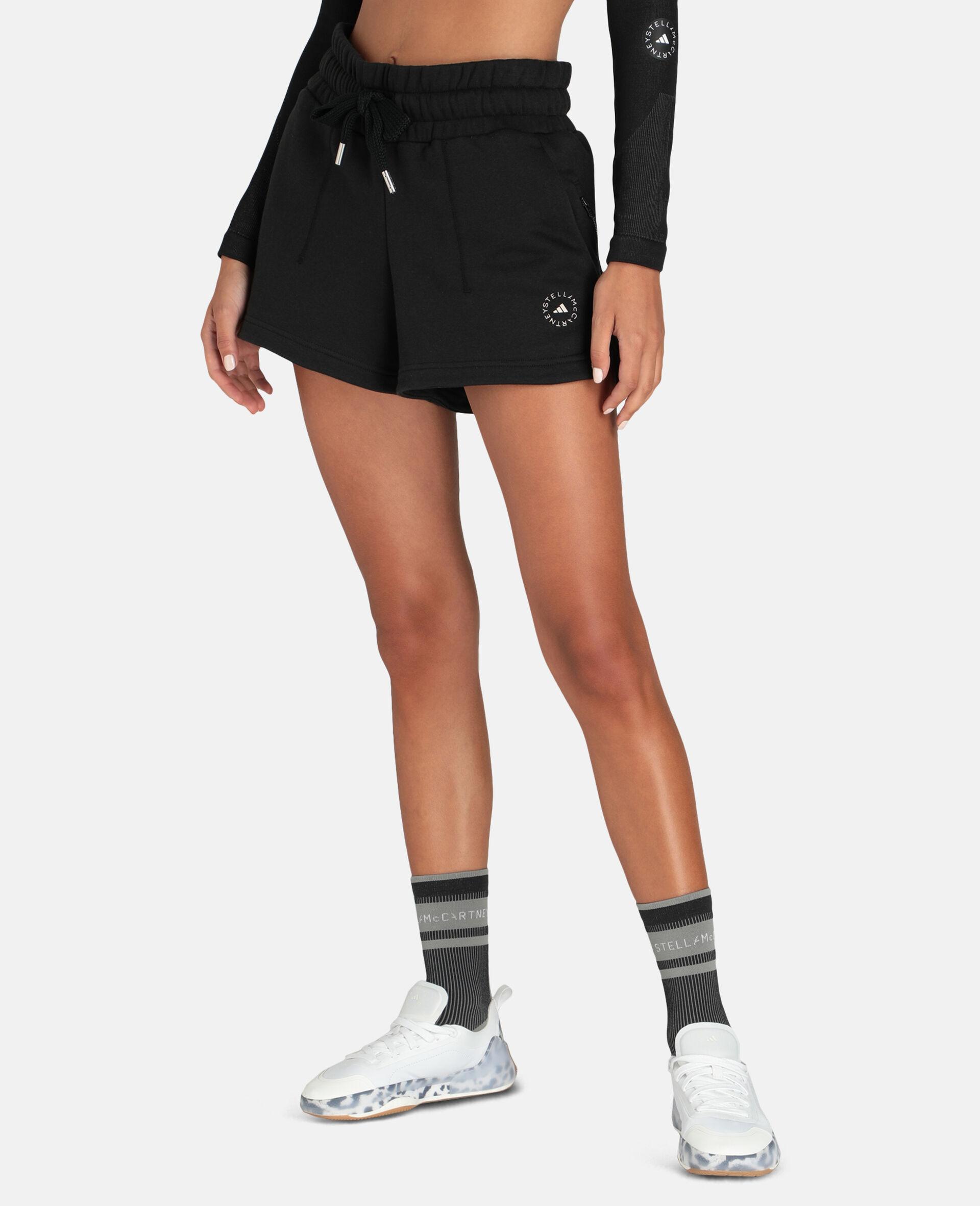 Schwarze Fleece-Sweat-Shorts-Schwarz-large image number 4