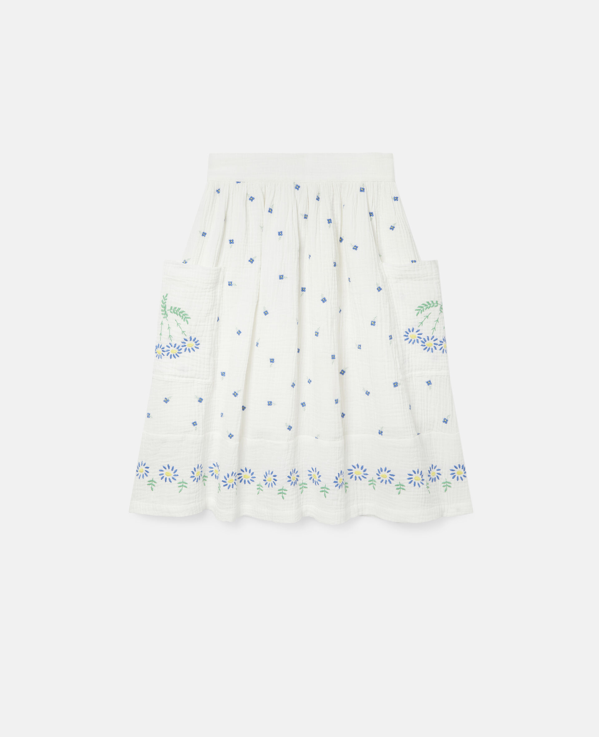 Embroidered Flowers Cotton Skirt-White-large image number 0
