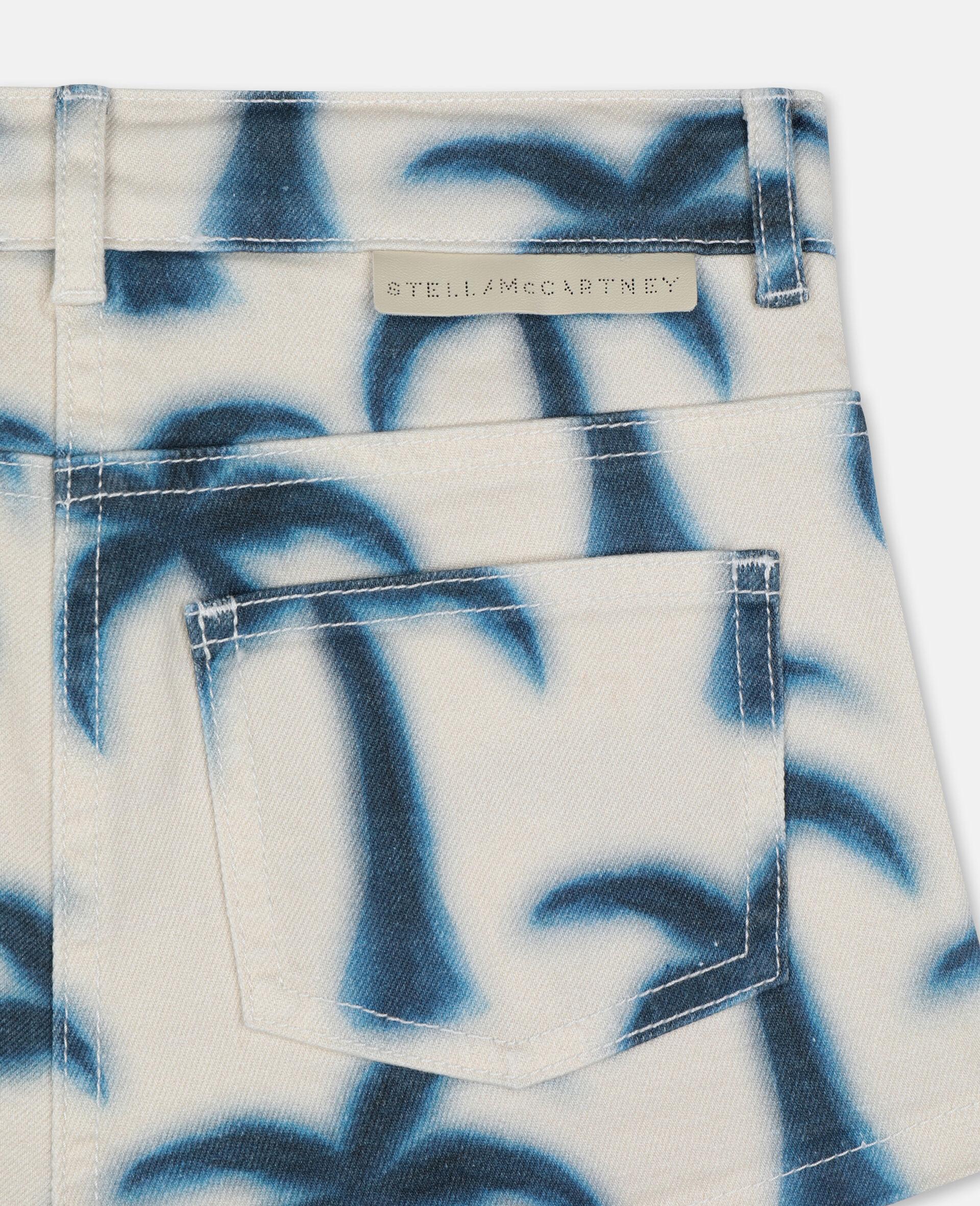 Denim-Shorts mit Palmen-Print-Blau-large image number 2