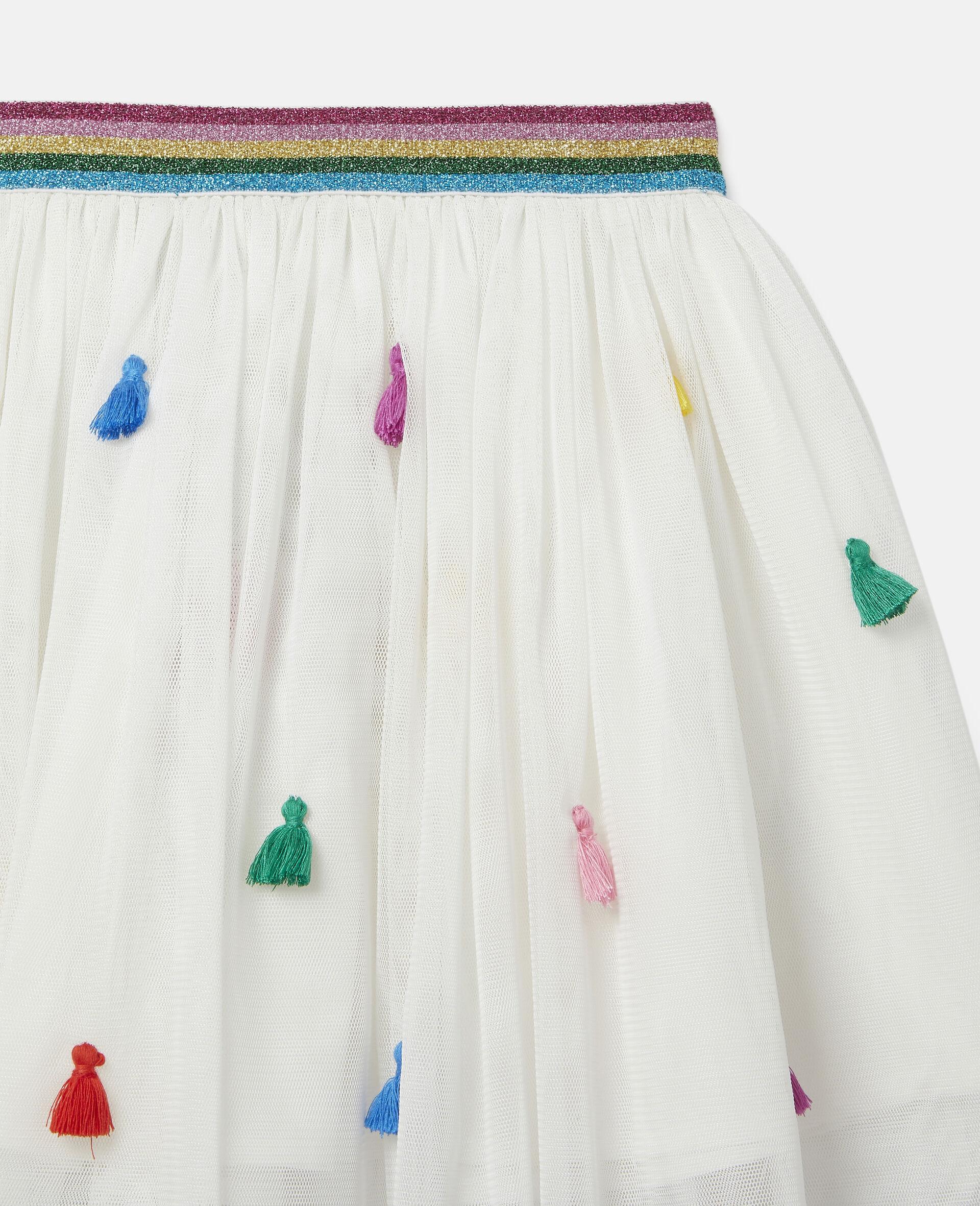 Tassels Tulle Skirt -White-large image number 1