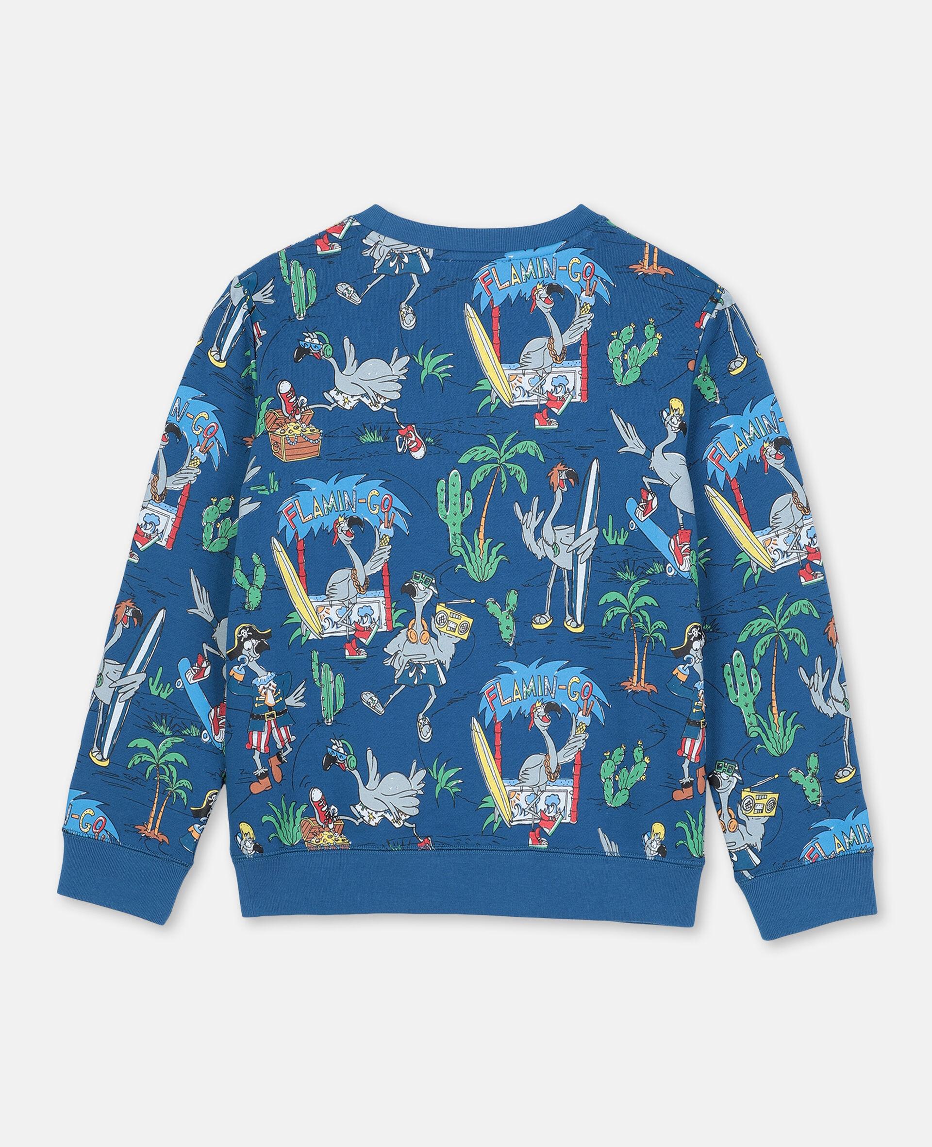 Baumwollsweatshirt mit Flamingo-Land-Print -Blau-large image number 3