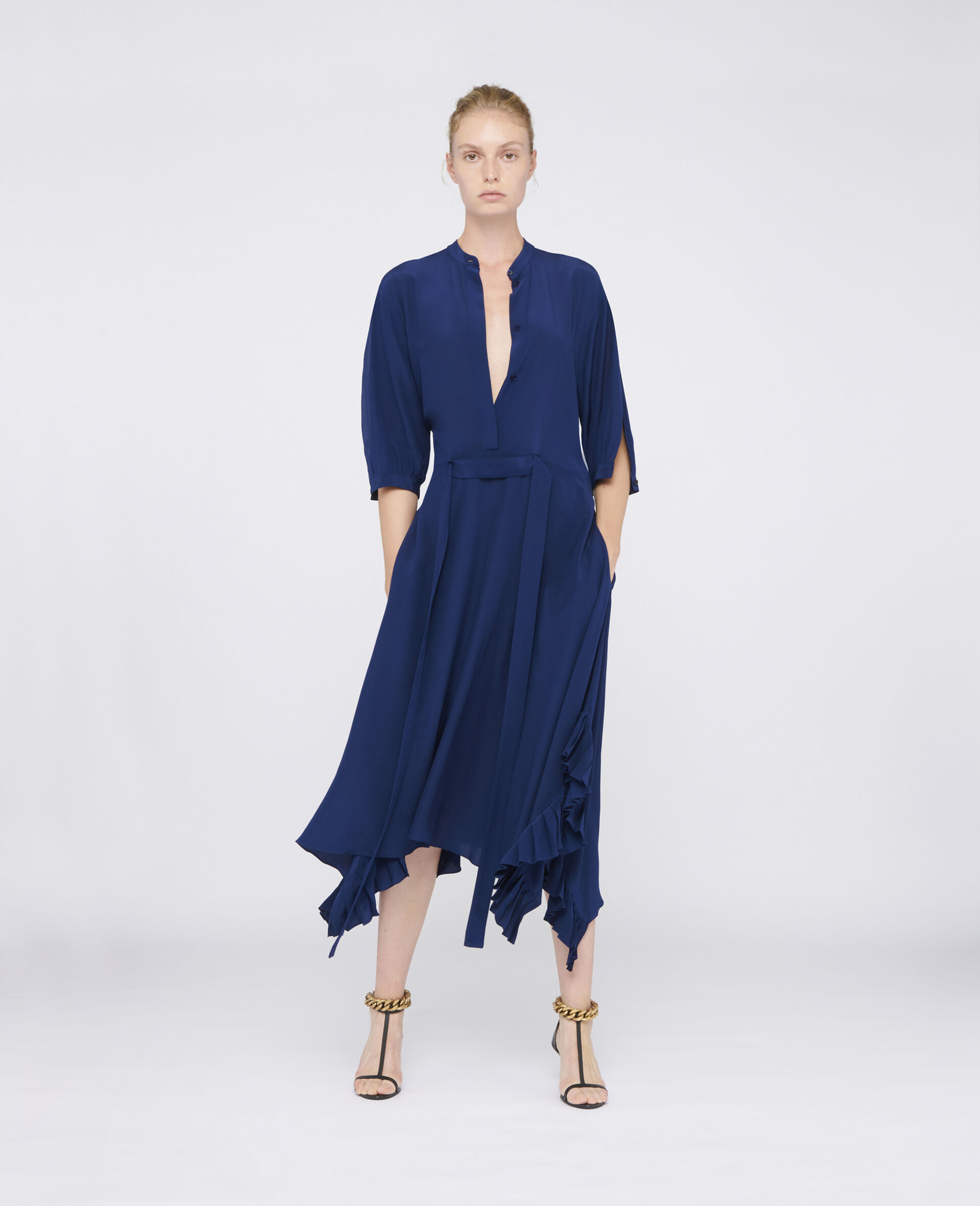 Ophelia Silk Dress-Blue-large image number 1