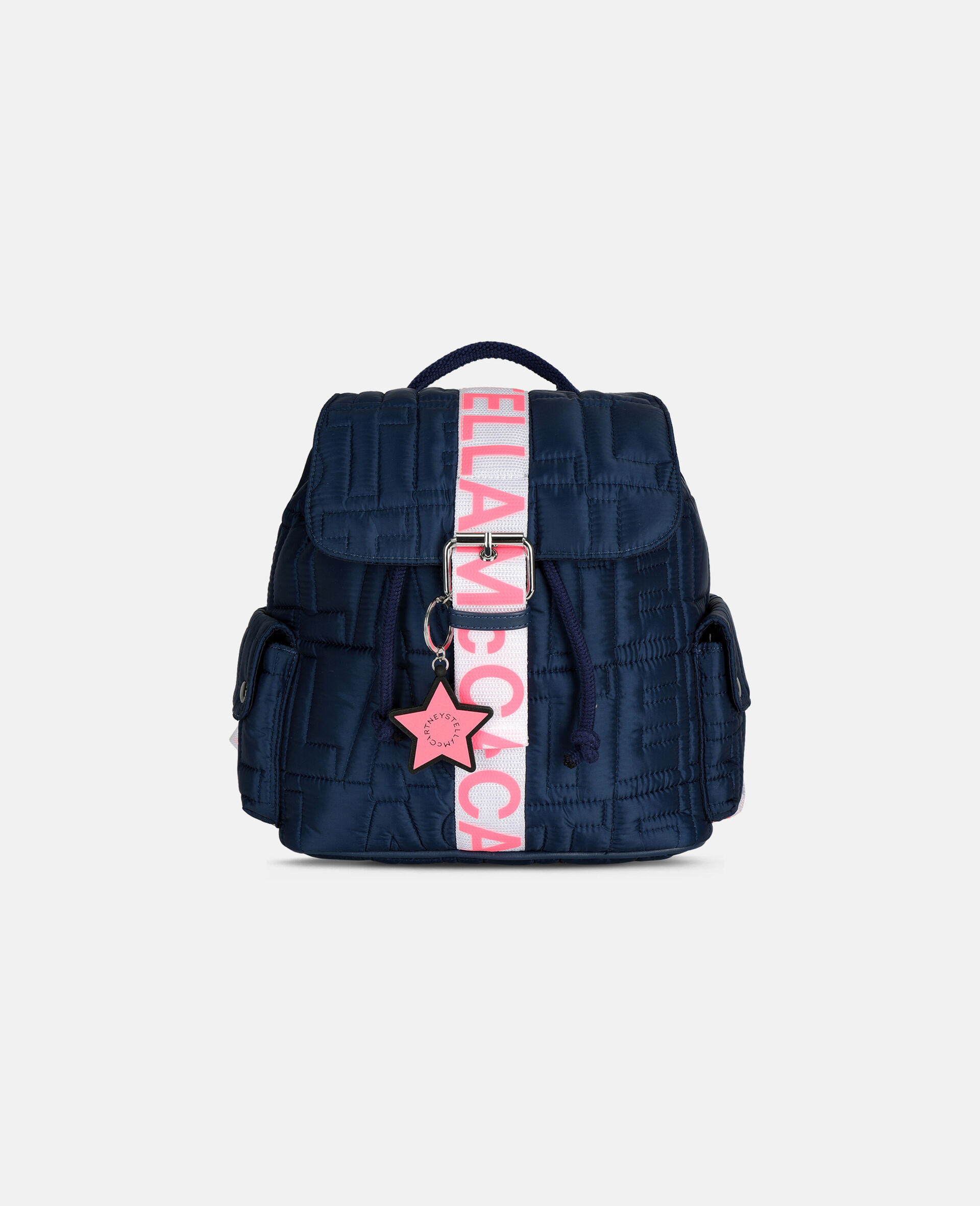 Petit sac à dos matelassé avec logo-Bleu-large image number 0