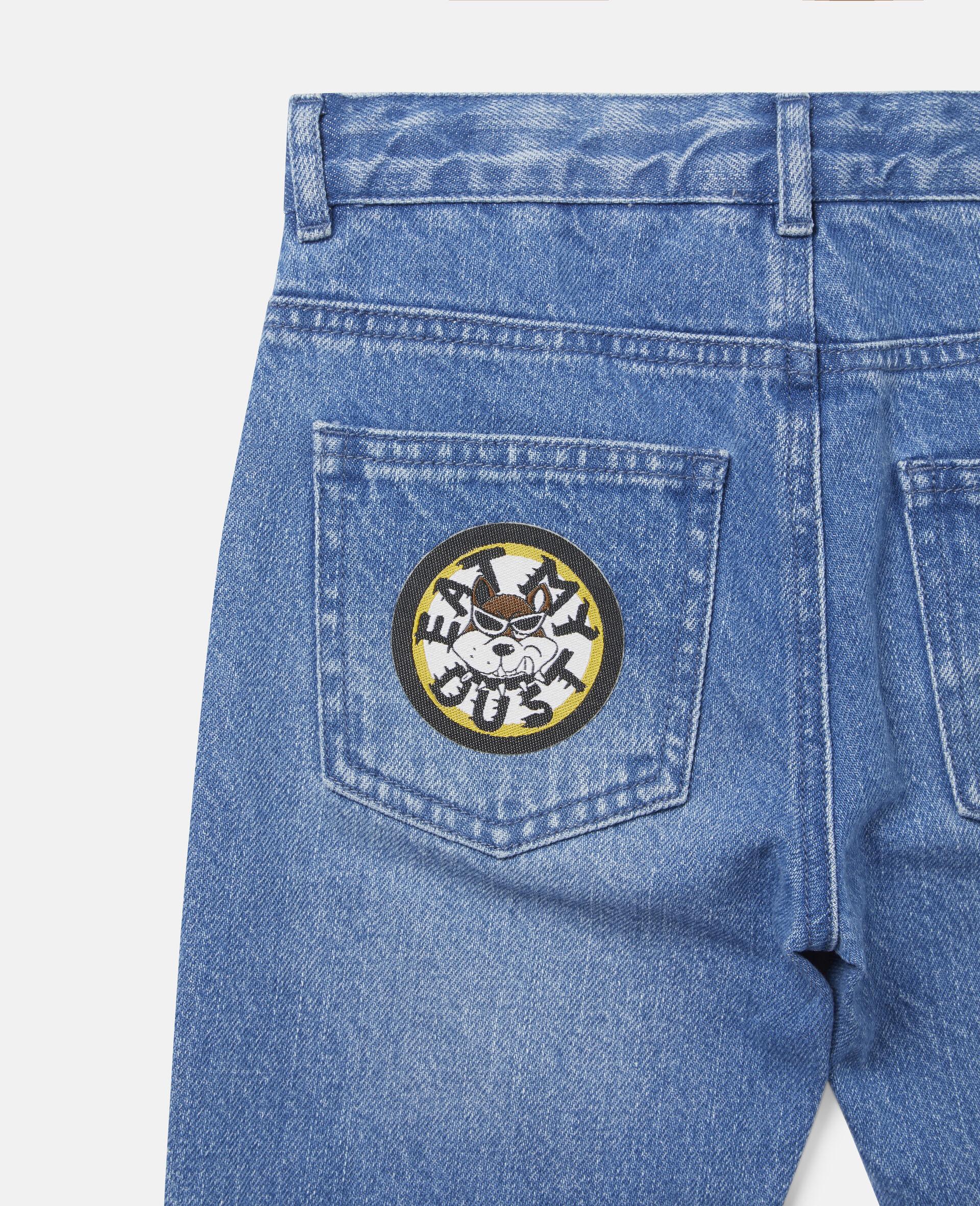Doggies Badges Denim Trousers-Blue-large image number 2