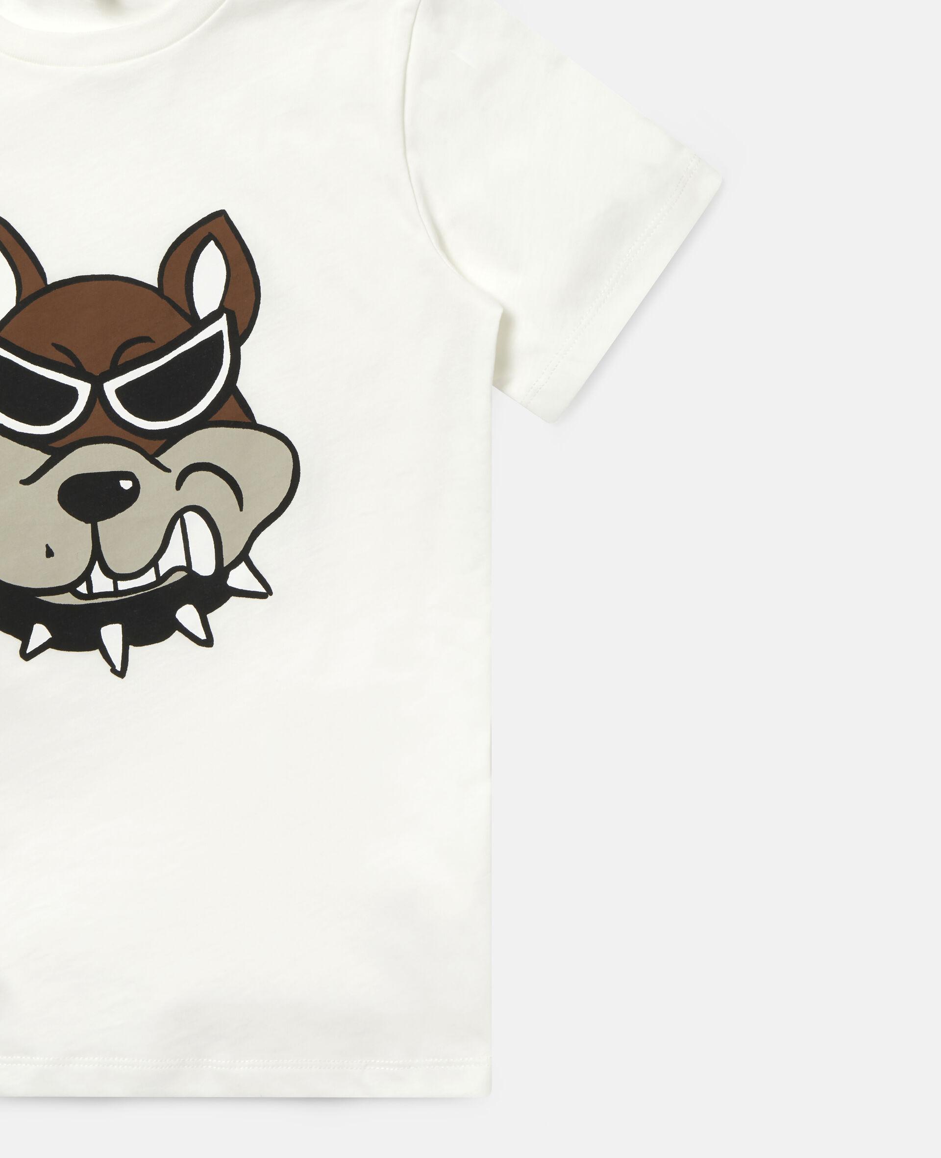 T-shirt en coton imprimé bulldog-Blanc-large image number 1