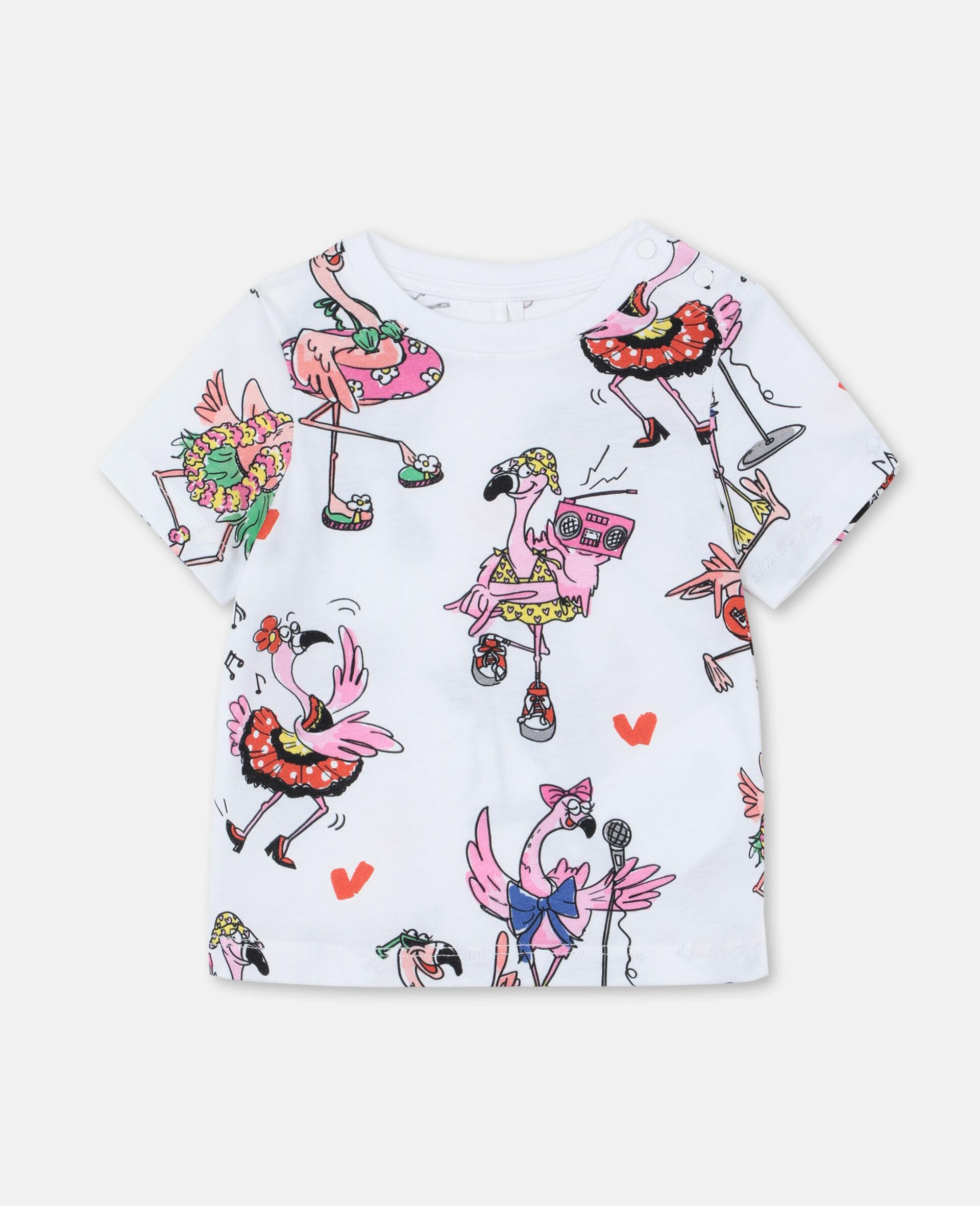 Flamingo Party Cotton T-shirt -Multicolour-large image number 0