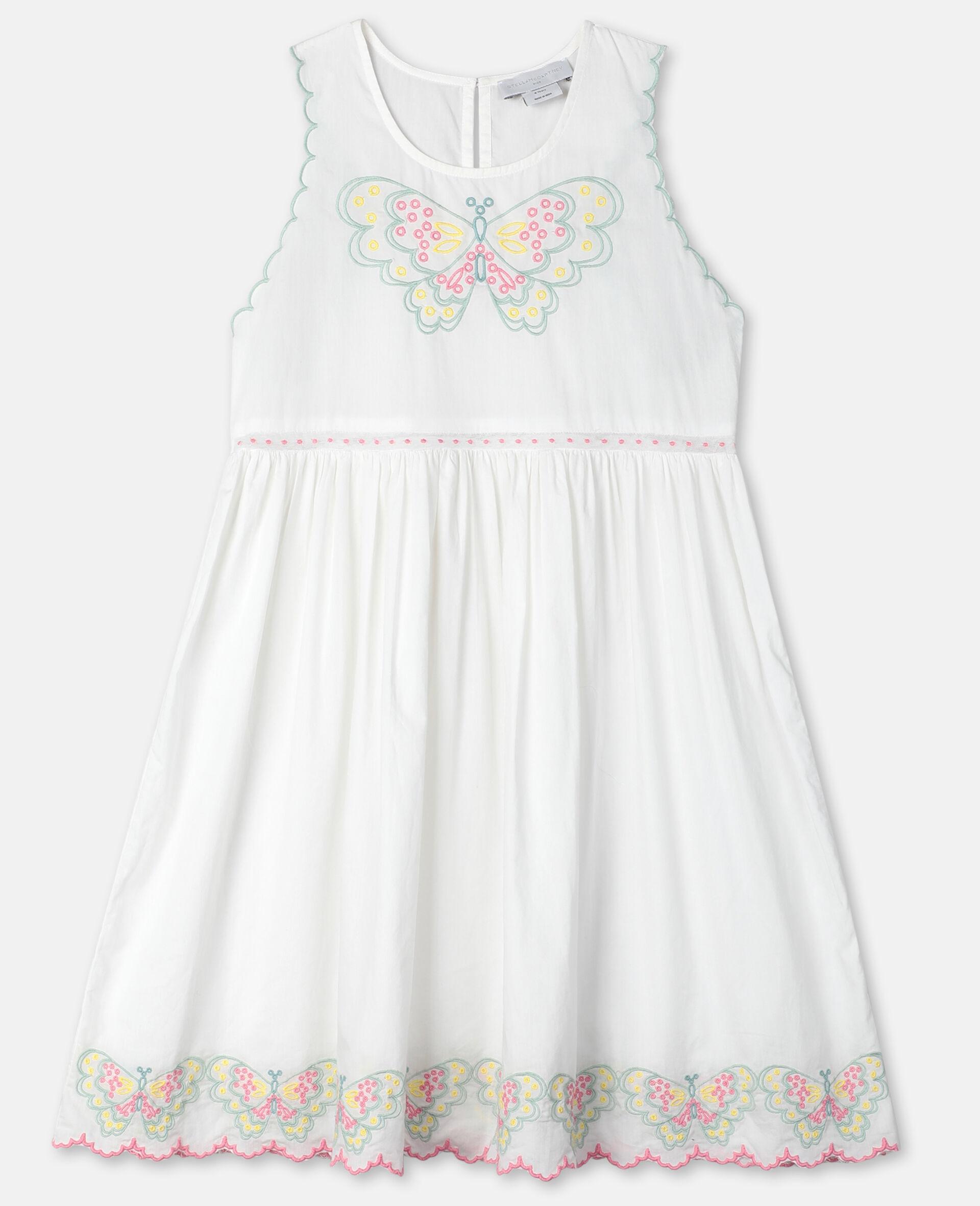 Butterfly刺绣棉质连衣裙-白色-large image number 0