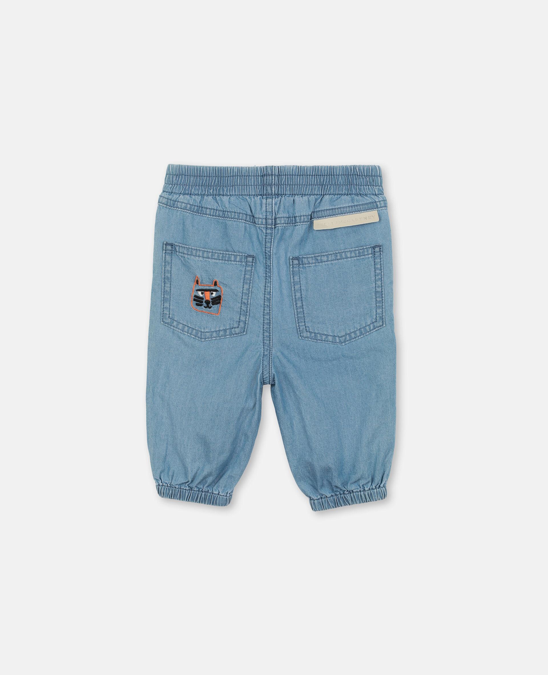 Pantaloni in Chambray con Gatti Ricamati-Blu-large image number 3