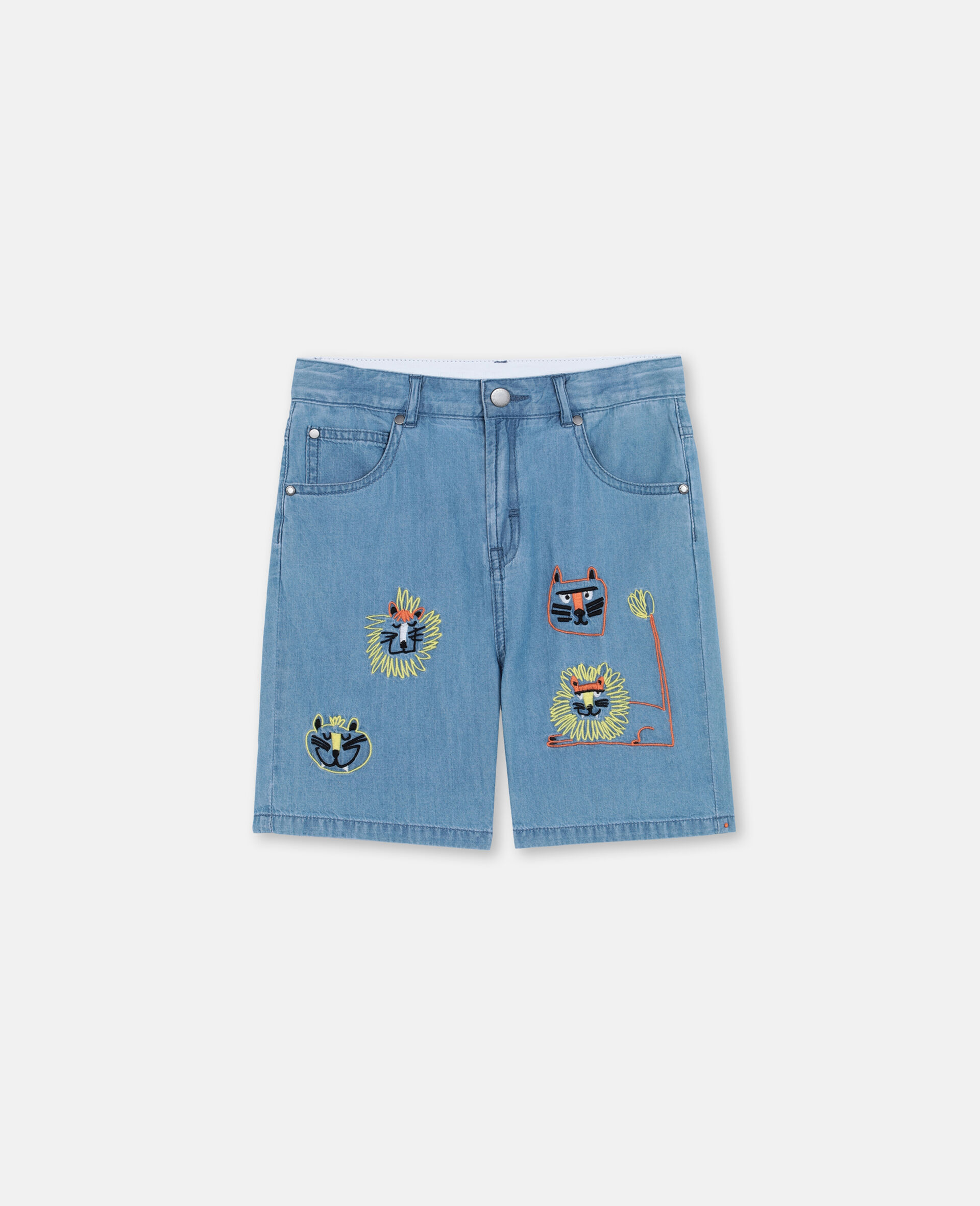 Embroidered Cats Cotton Chambray Shorts -Blue-large image number 0
