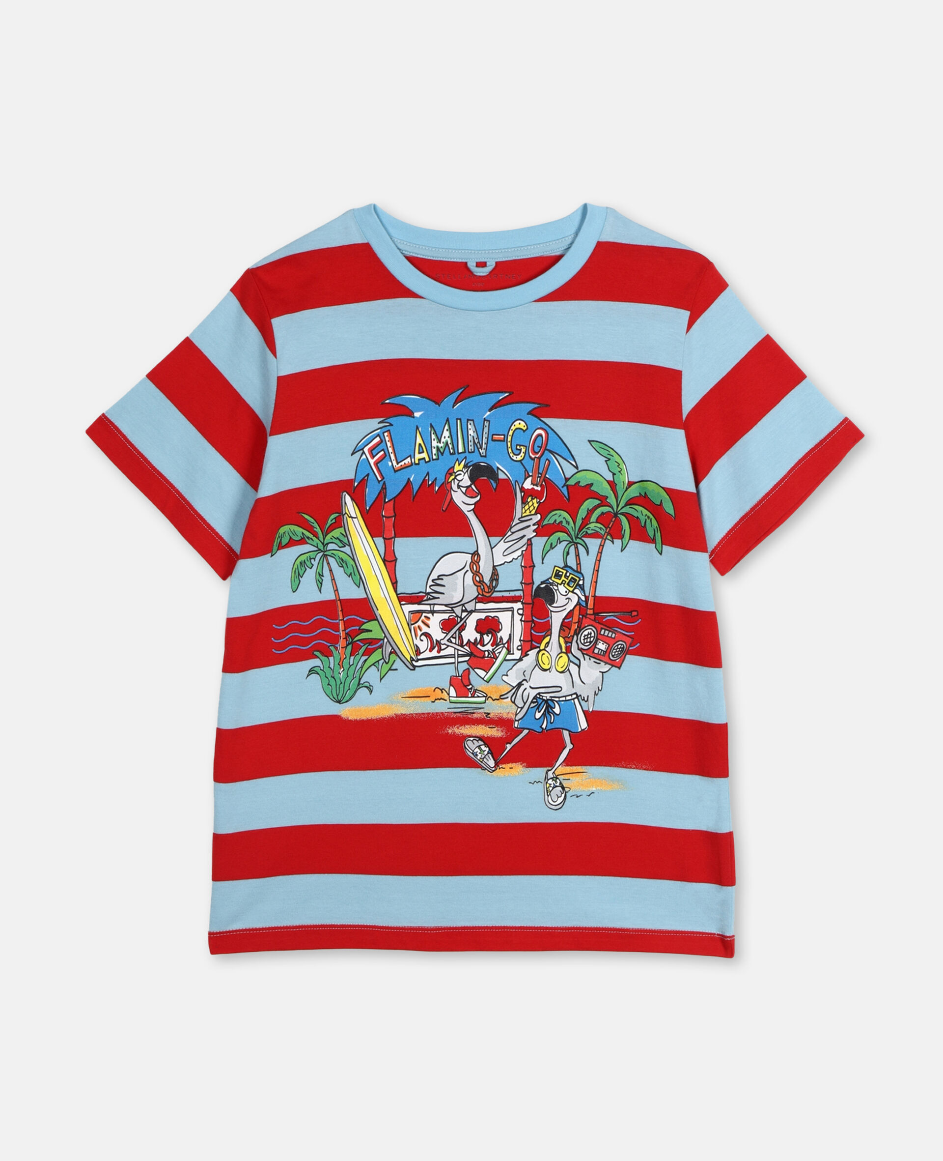 Flamingo Party Cotton T-shirt -Red-large image number 0