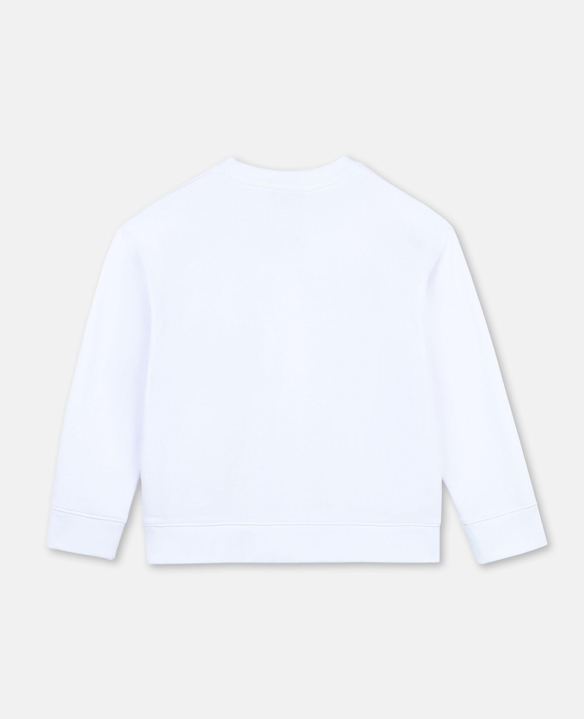 Paws Up Oversize Cotton Sweatshirt -White-large image number 2