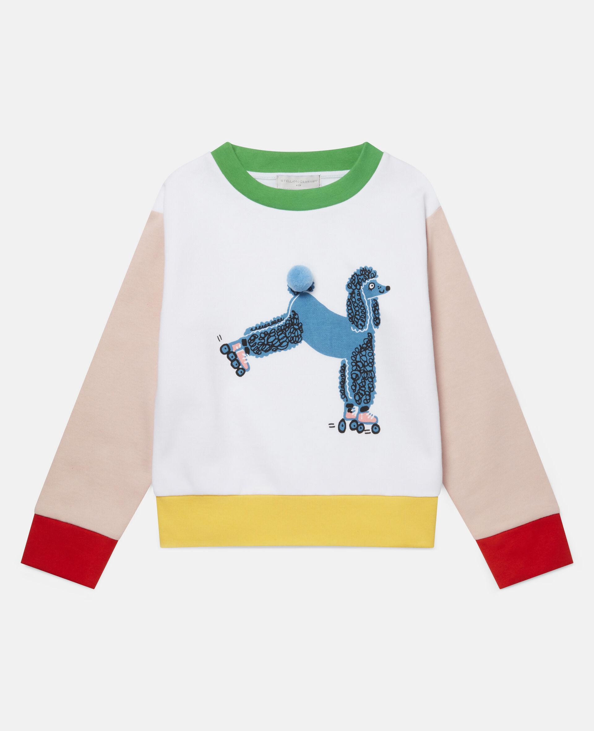 Sweatshirt aus Fleece mit Pudel auf Rollerskates -Weiß-large image number 0