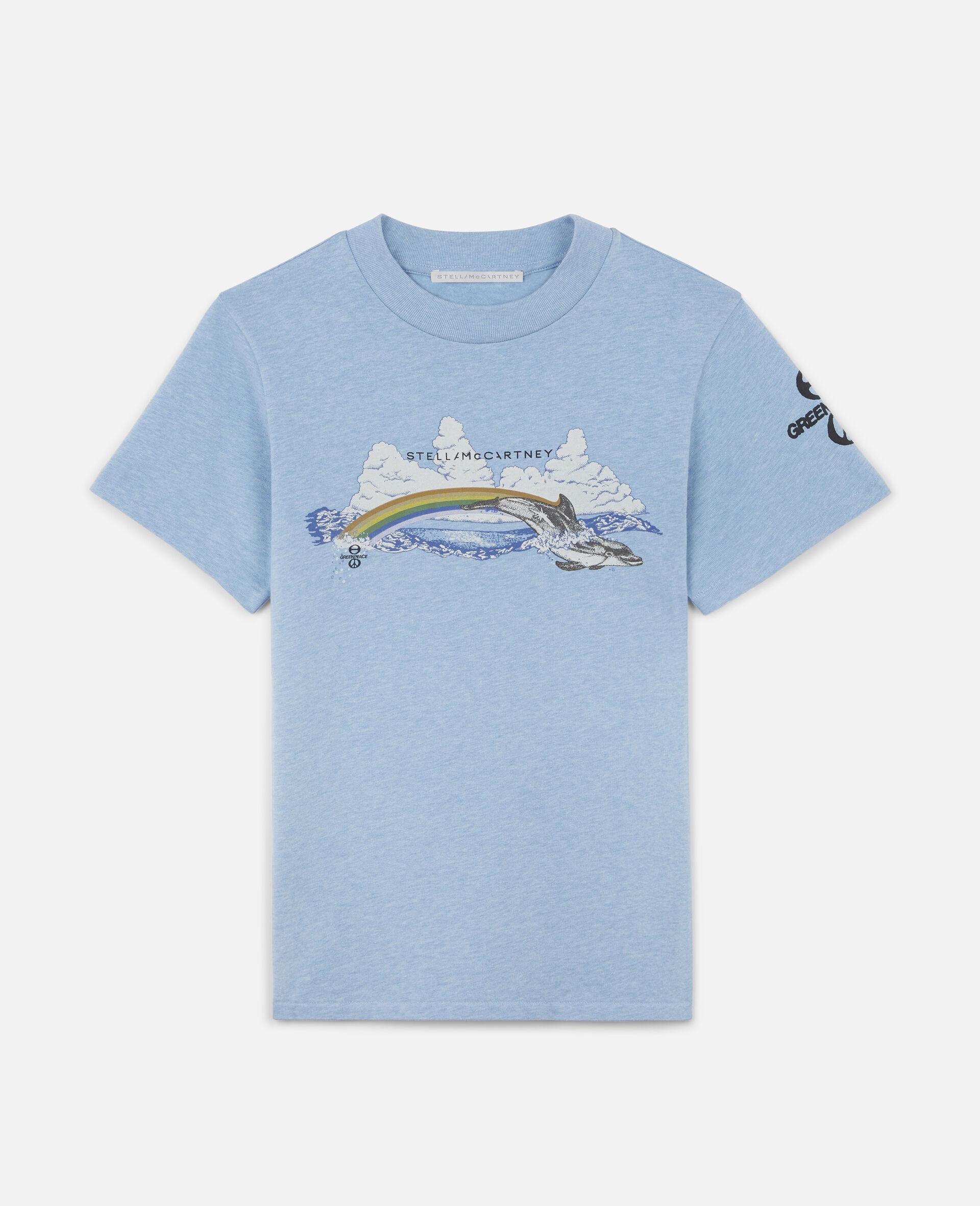 """Baumoll-T-Shirt mit """"Regenbogen-Delfin""""-Print-Blau-large image number 0"""