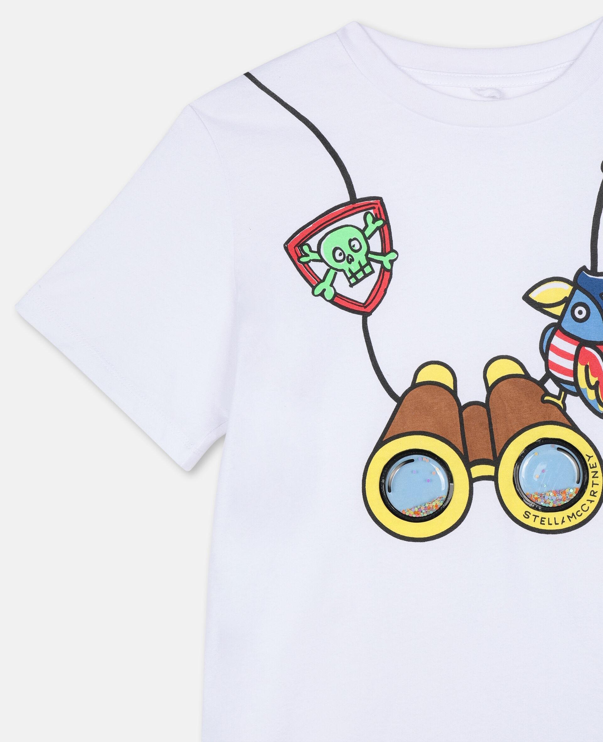 T-shirt en coton à motif jumelles 3D -Blanc-large image number 2