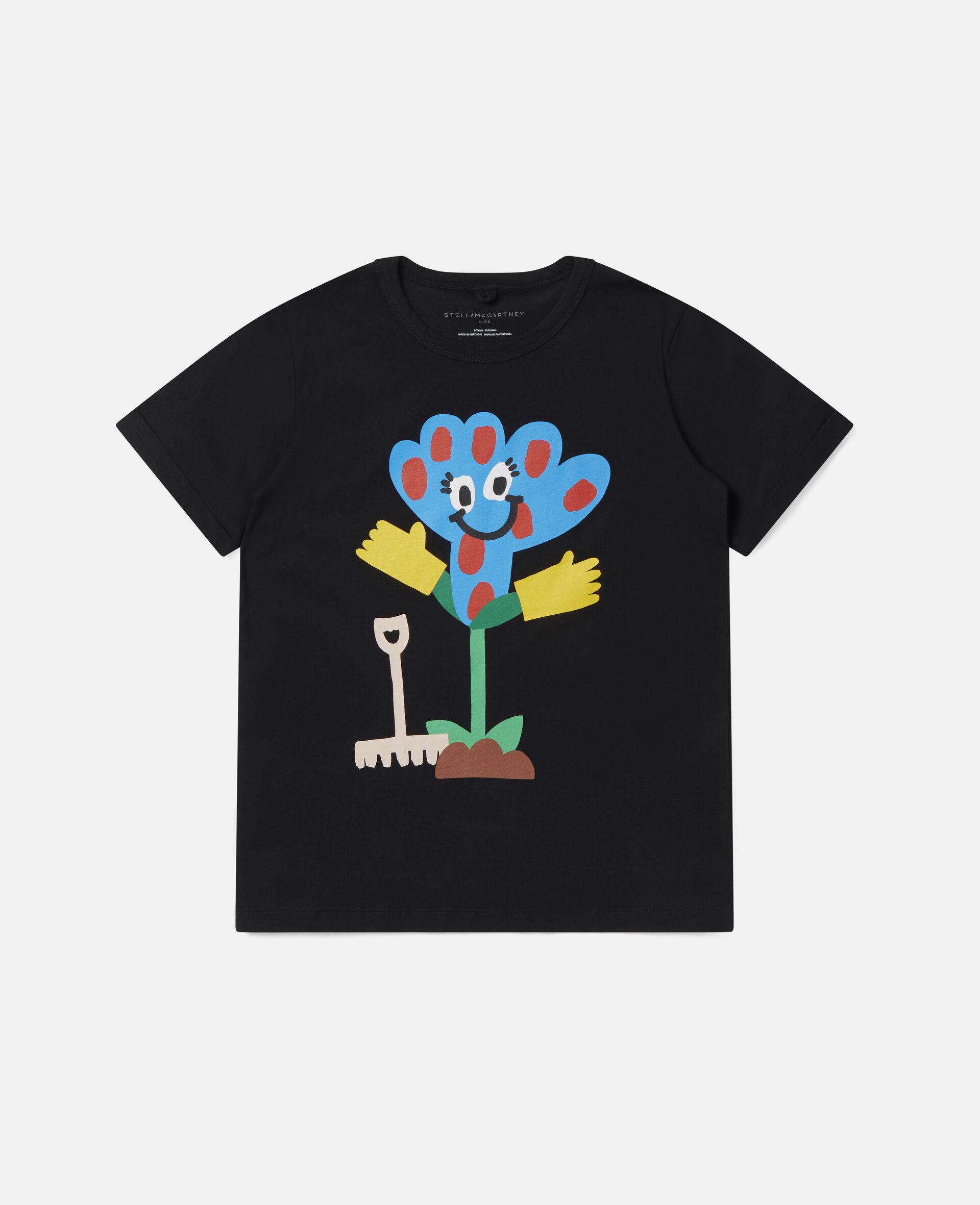 T-Shirt aus Baumwolle mit gepunkteter Blume -Schwarz-large image number 0
