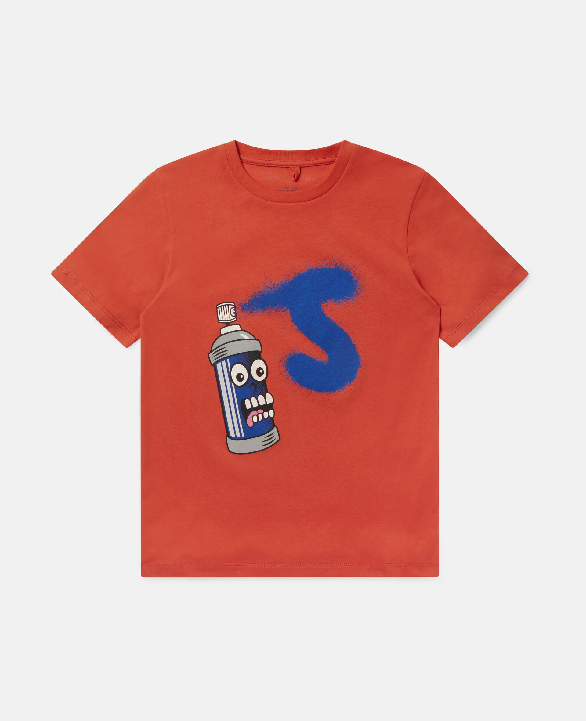 Spray Can Cotton T-shirt-Red-large image number 0