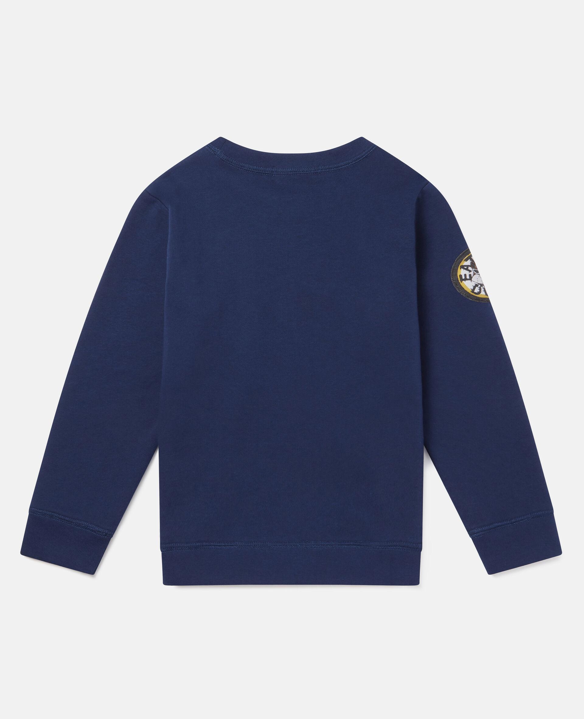 Sweat-shirt en polaire écussons chiens motards-Bleu-large image number 3