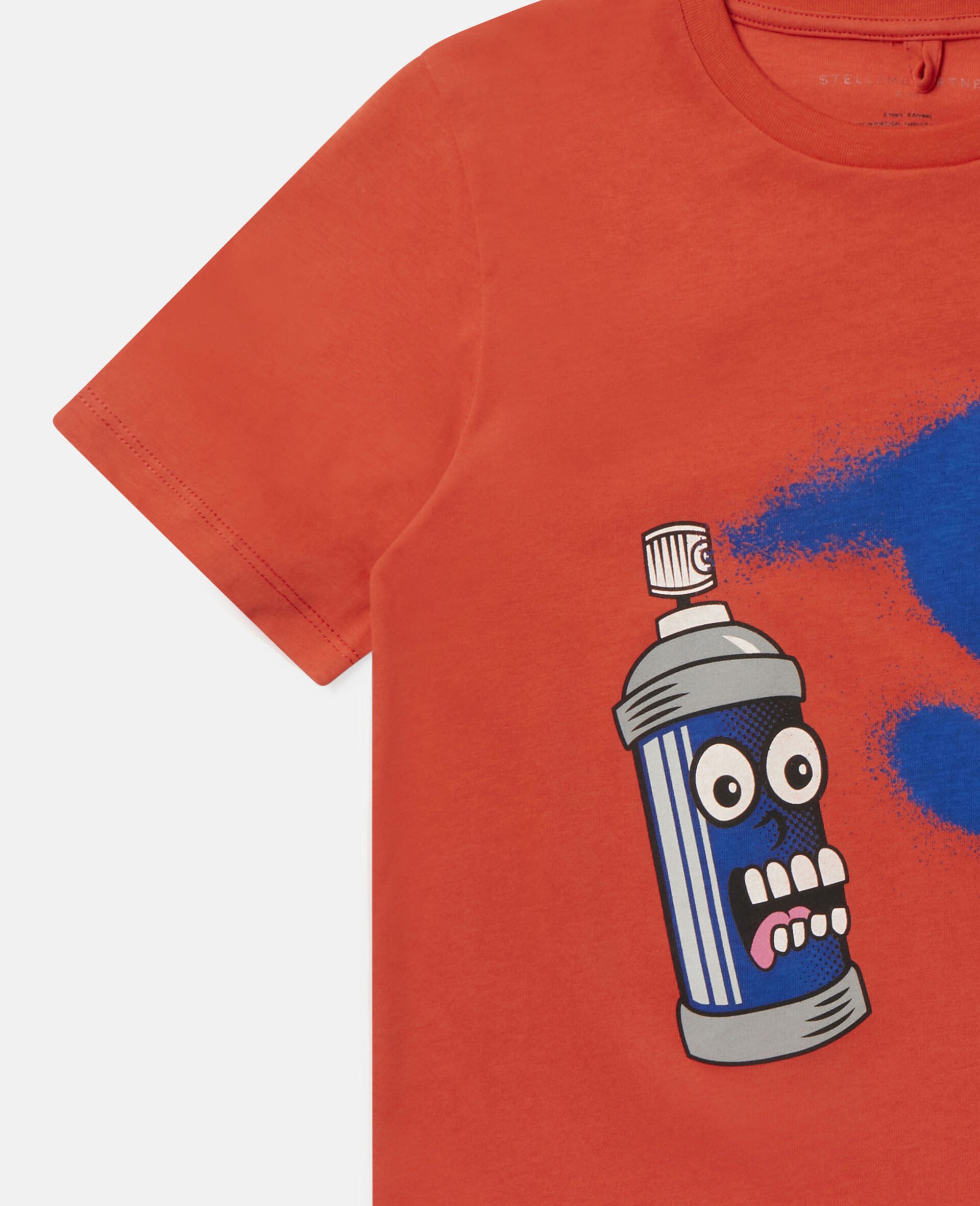 Spray Can Cotton T-shirt-Red-large image number 2