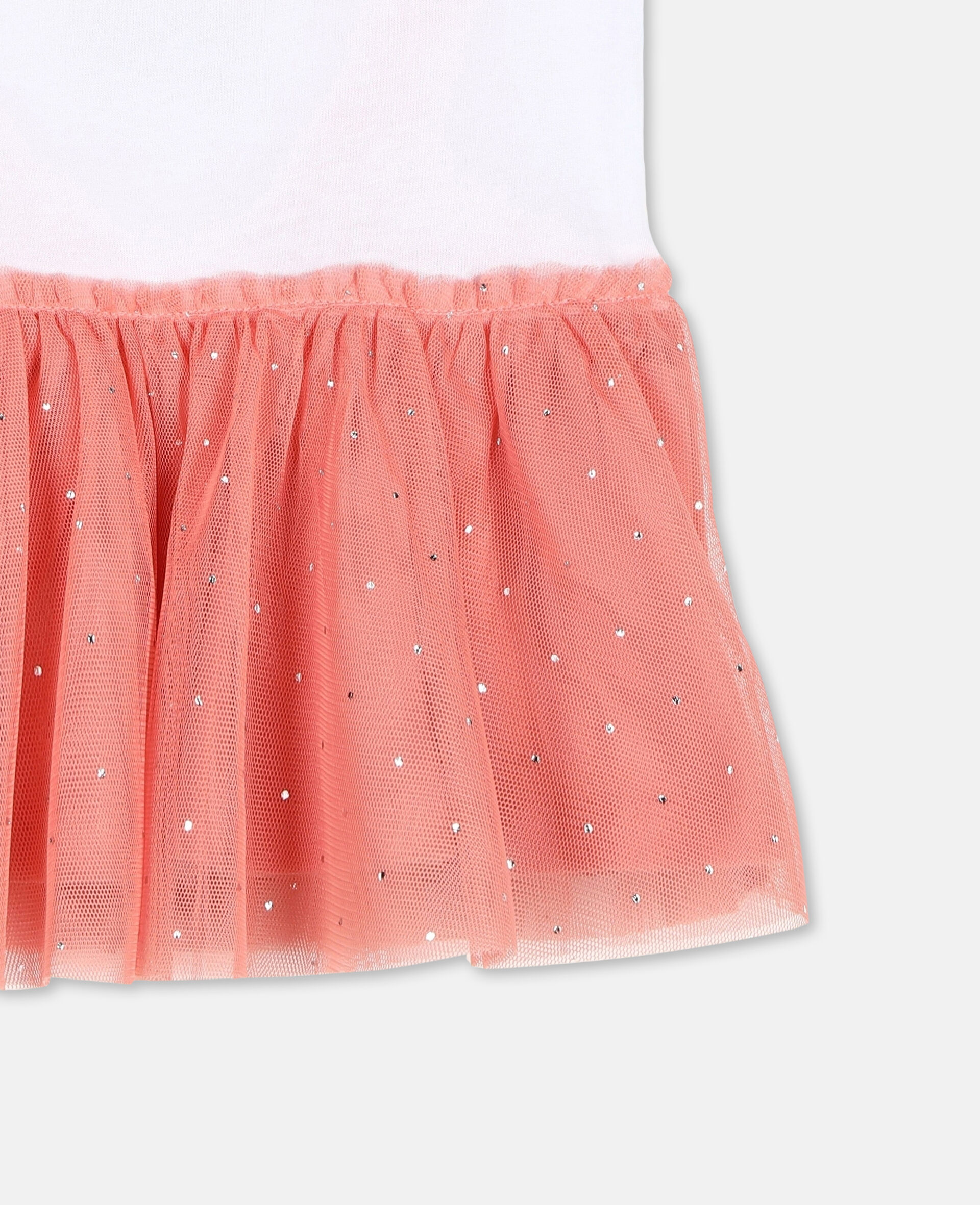 Flamingo Jersey and Tulle Dress-White-large image number 2