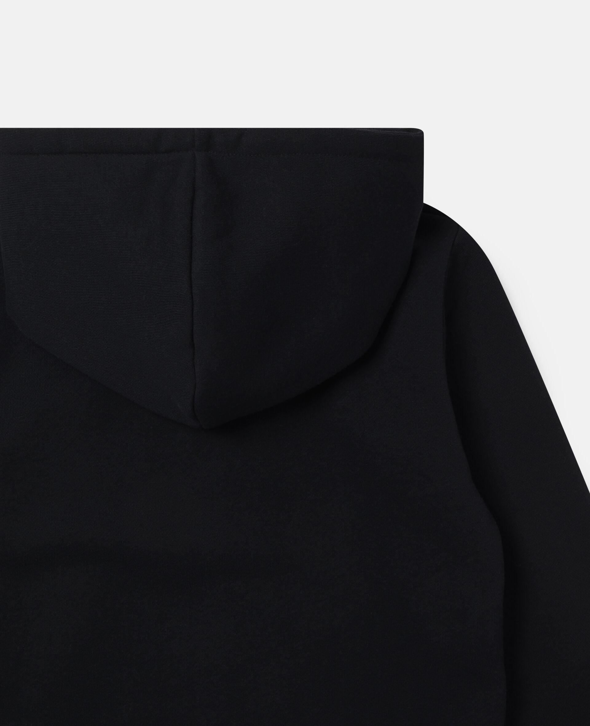 Übergroßer Kapuzenpullover aus Fleece mit Stella-Print-Schwarz-large image number 1