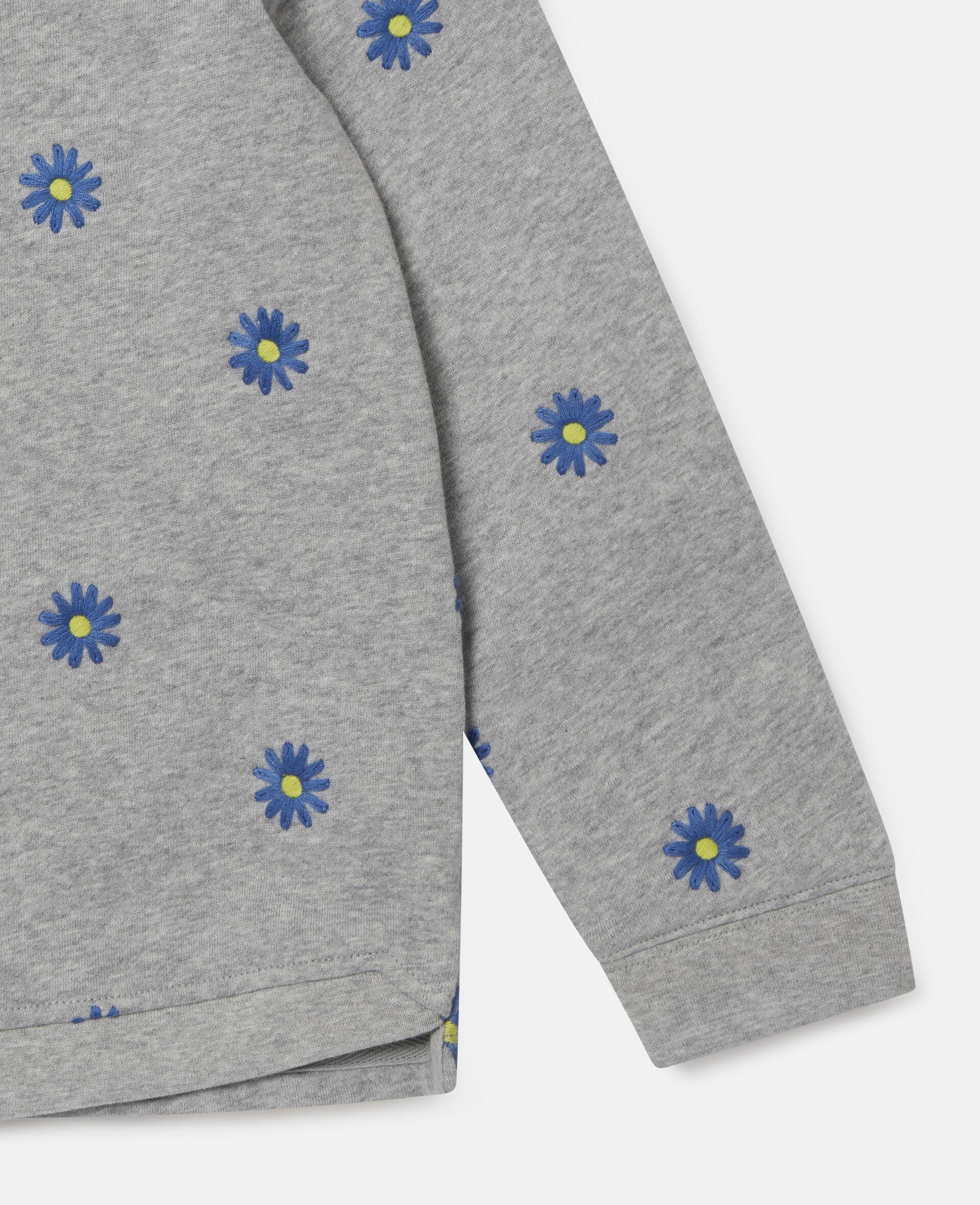 Embroidered Daisies Cotton Fleece Sweatshirt -Grey-large image number 2