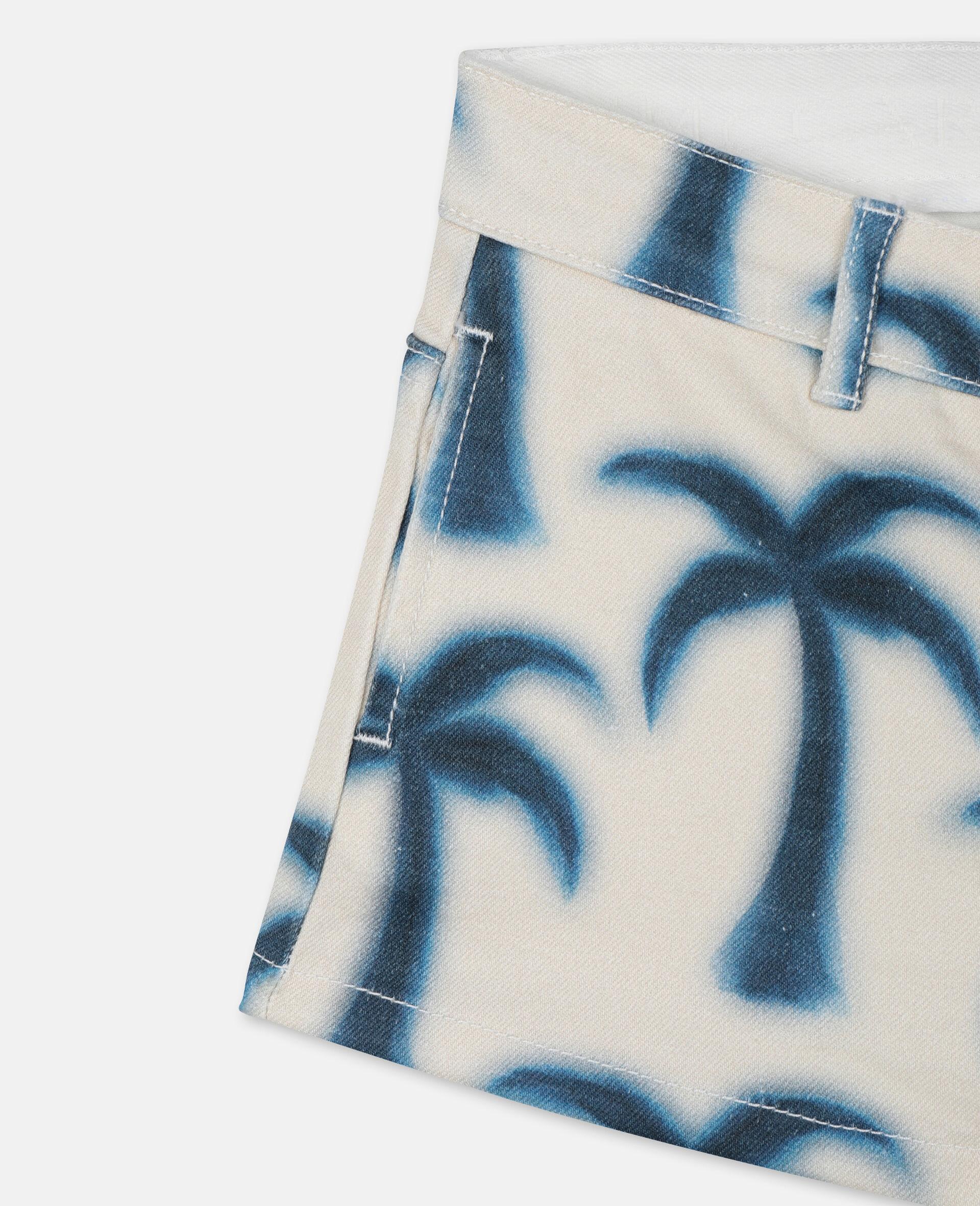 Denim-Shorts mit Palmen-Print-Blau-large image number 1