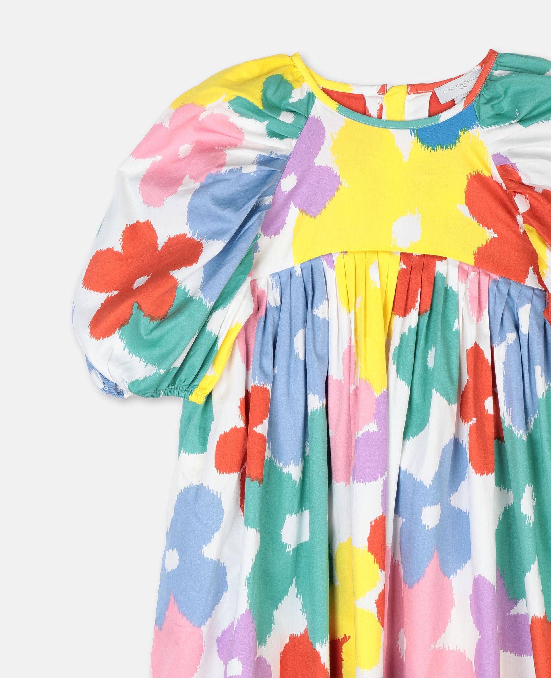Flowers Cotton Dress-Multicolour-large image number 1