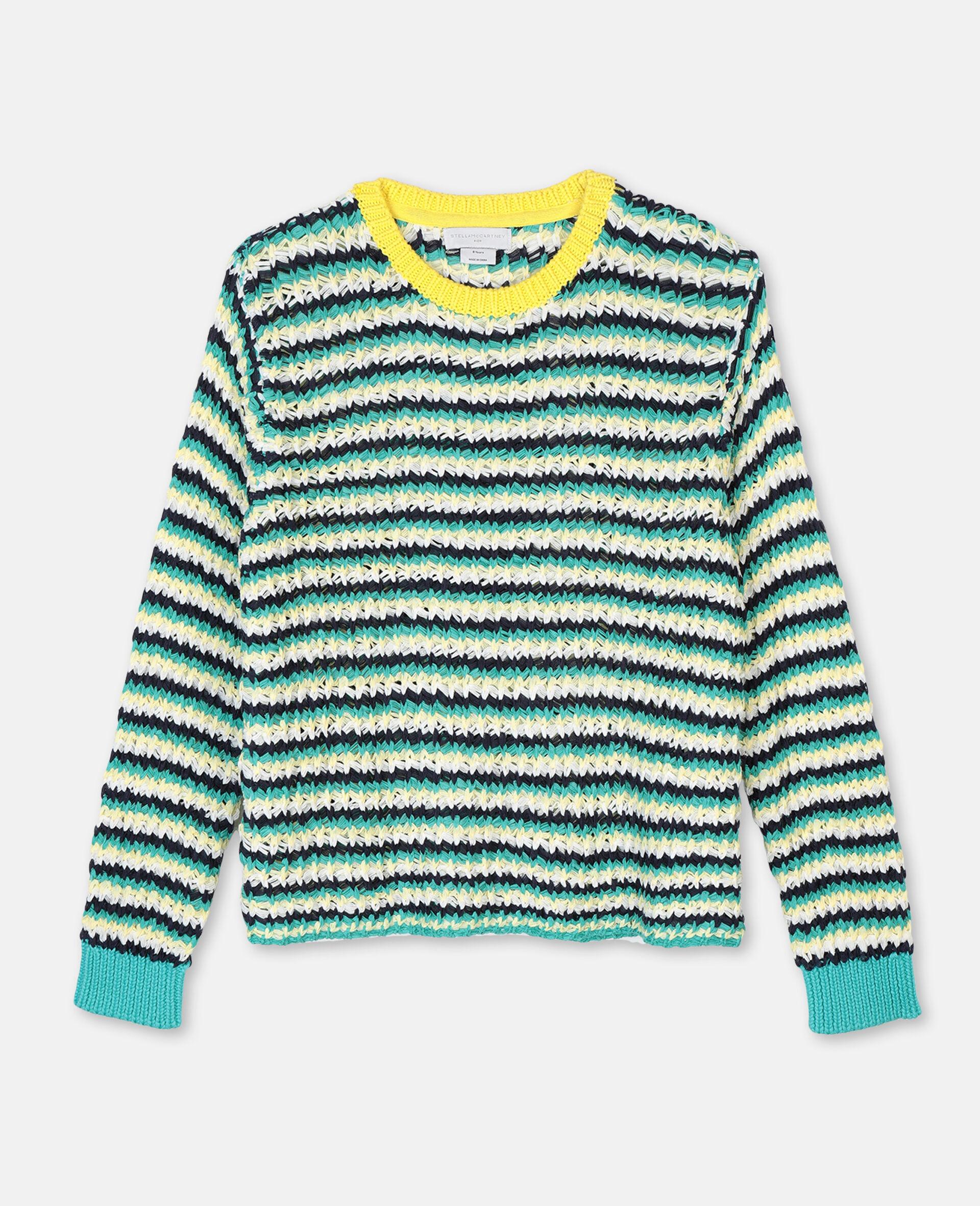 Zigzag Oversize Knit Sweater -Multicolour-large image number 0