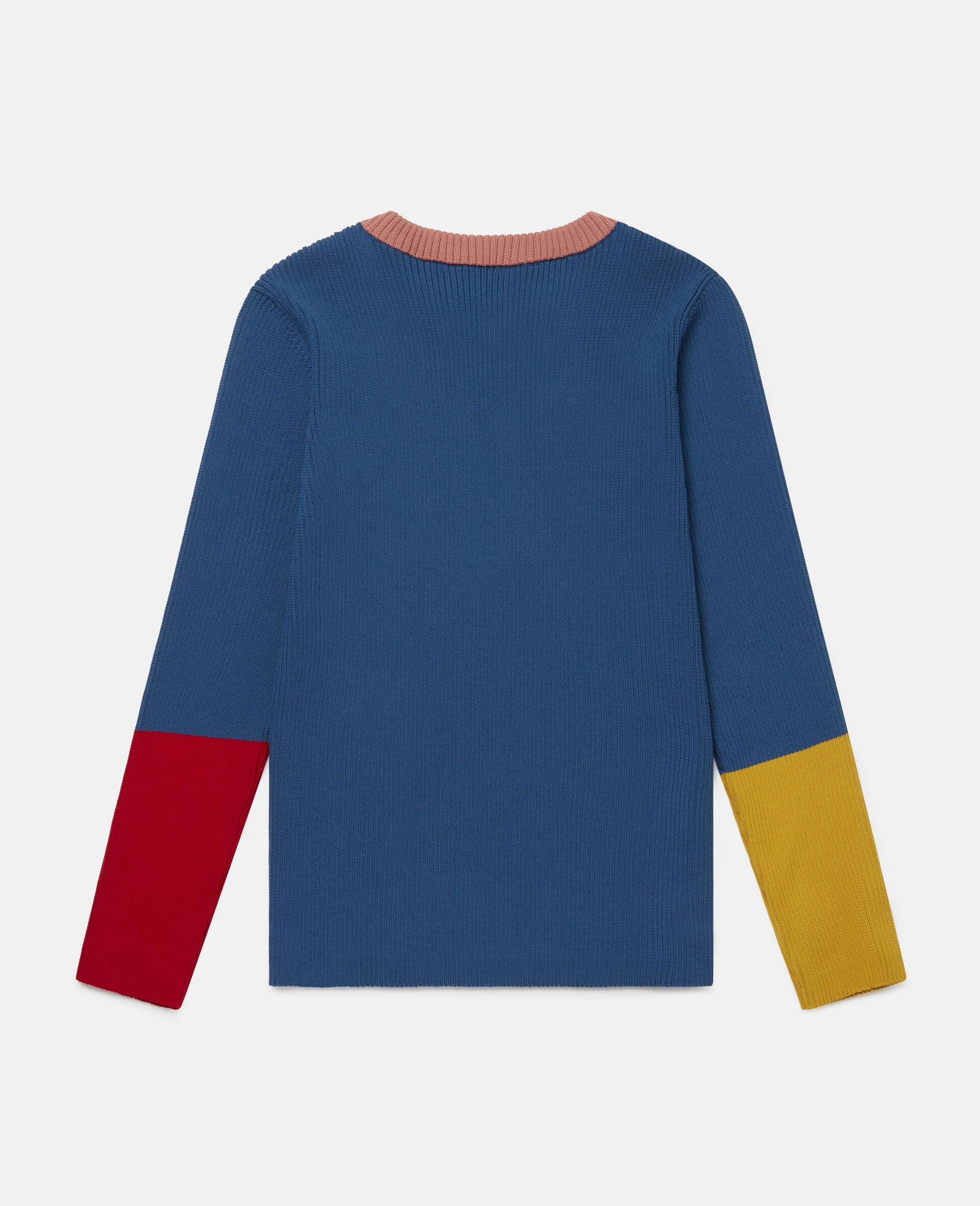 Colourblock Knit Rib Jumper -Blue-large image number 3