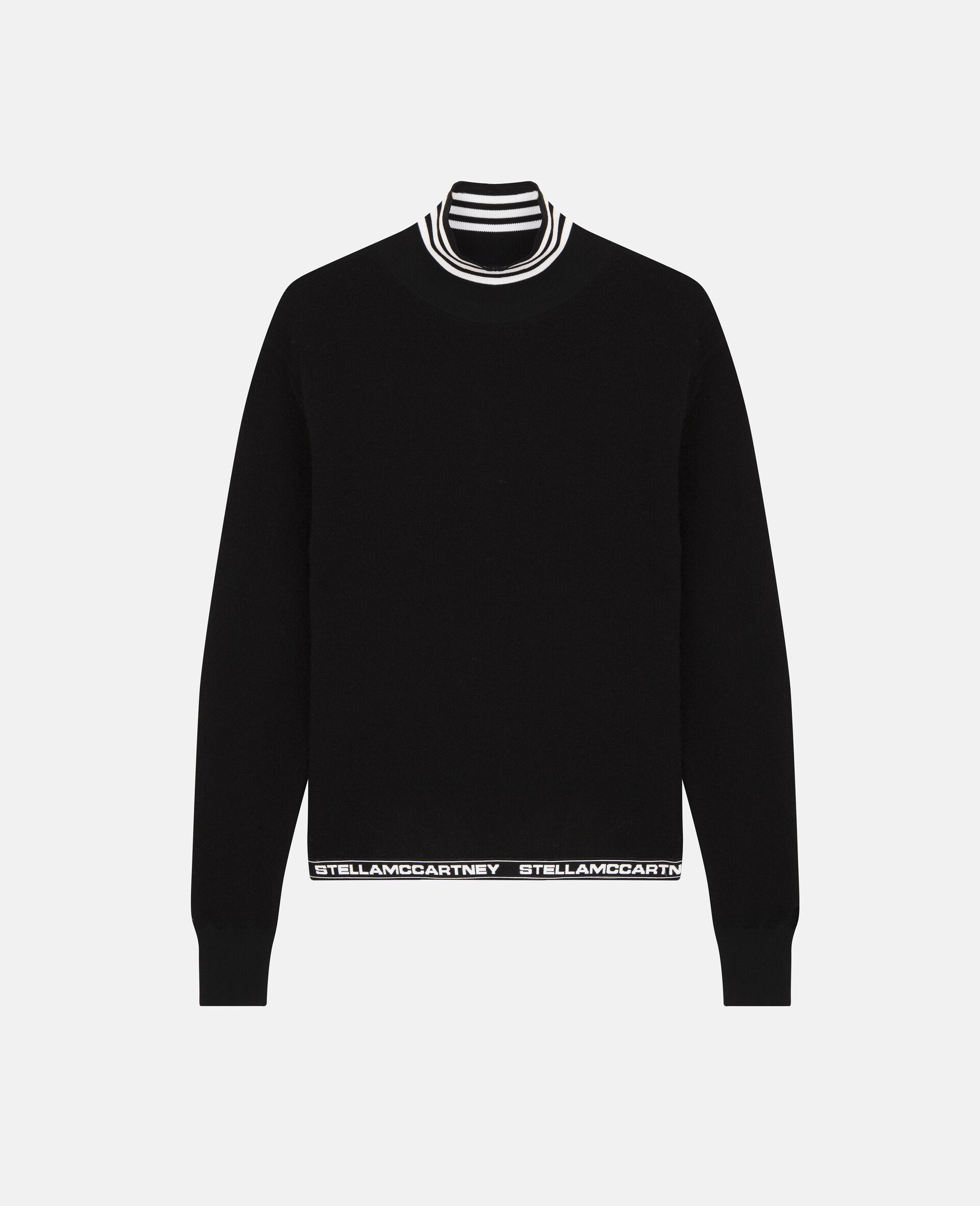 Pullover aus engmaschigem Strick mit Logo-Schwarz-large image number 0