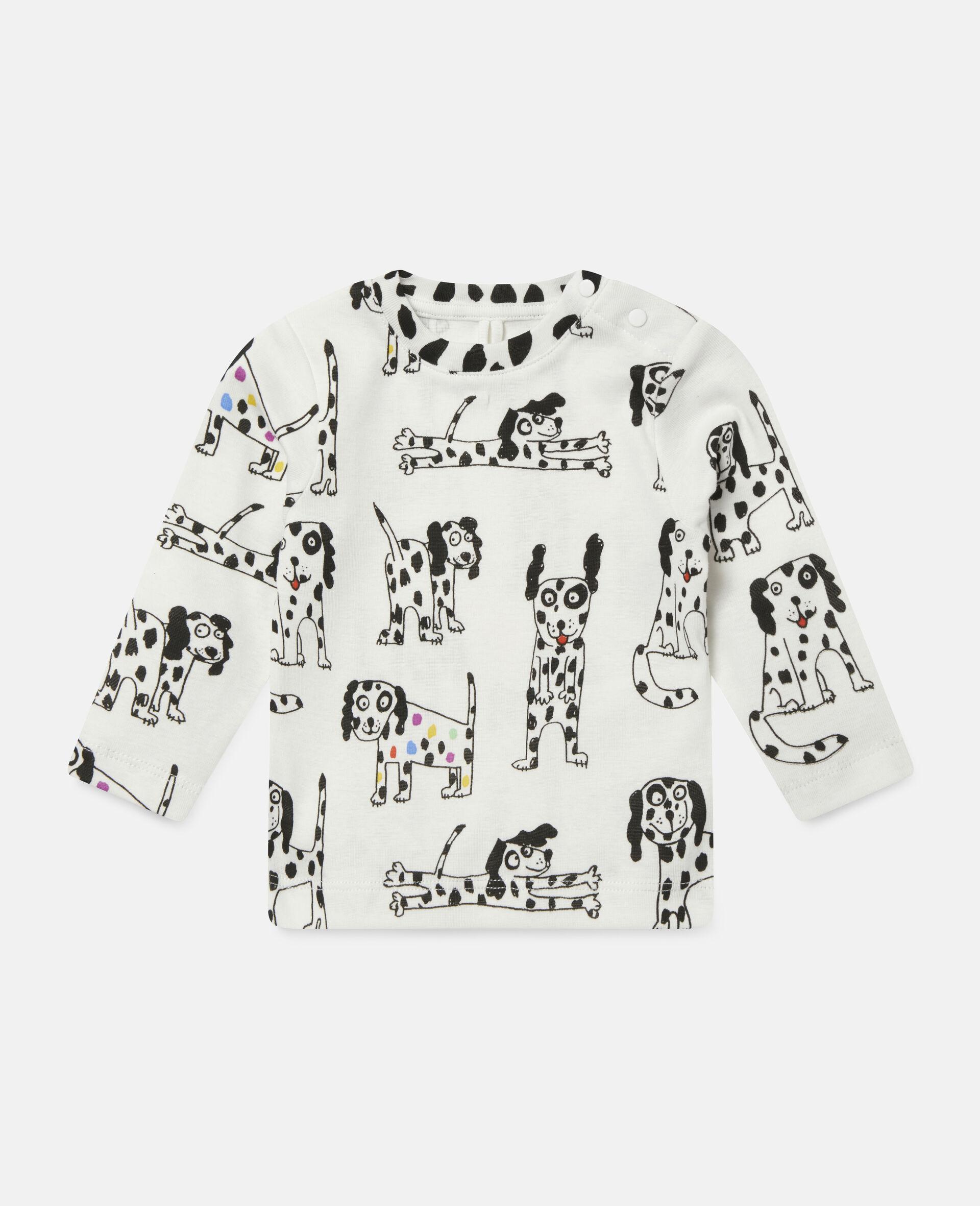"""Oberteil aus geripptem Jersey mit """"Doodle Dalmatians""""-Motiv-Weiß-large image number 0"""