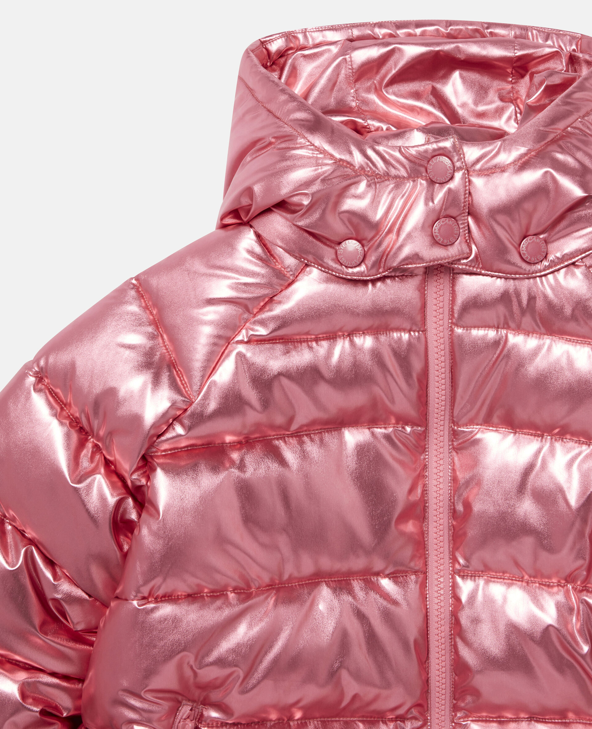 Foiled Hooded Puffer Jacket -Red-large image number 1