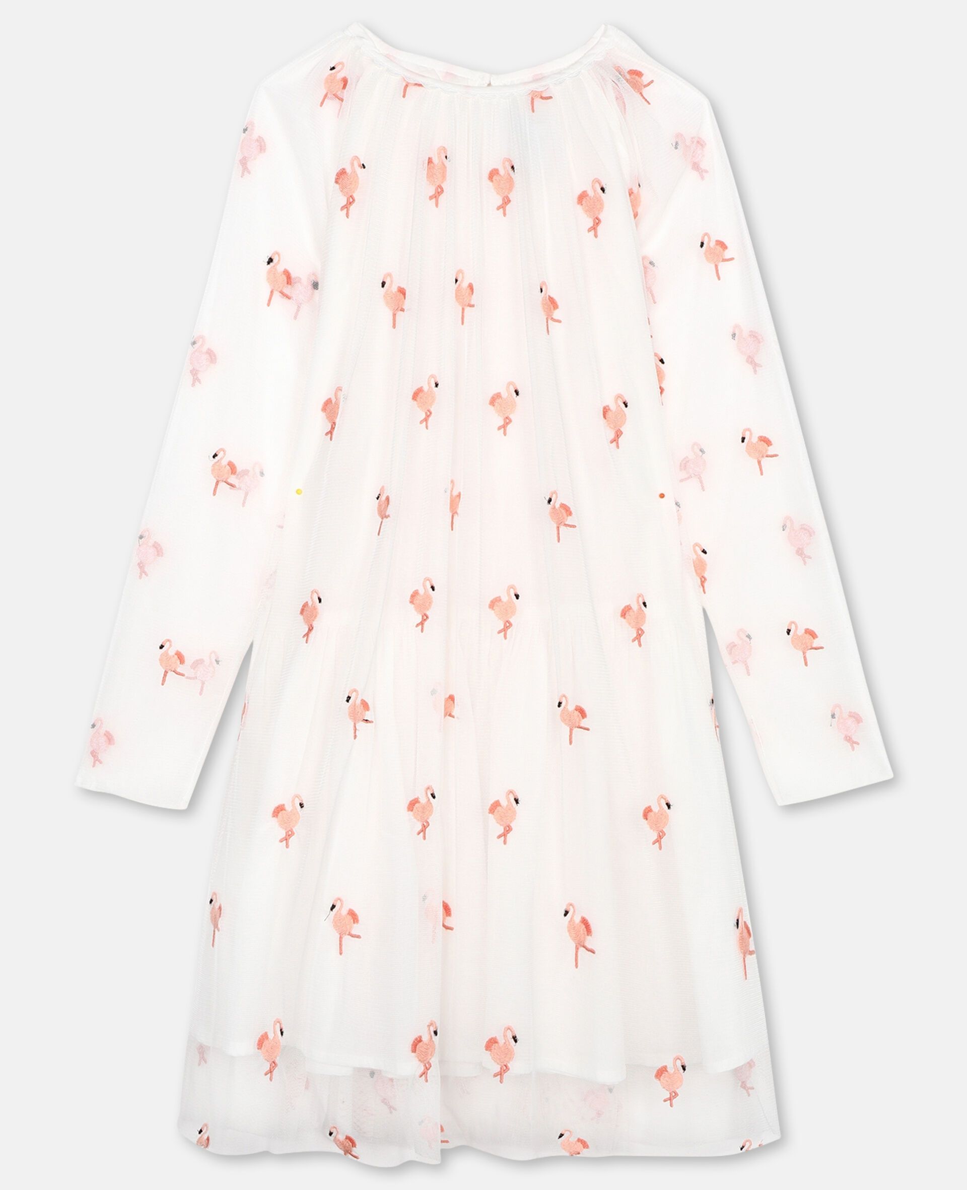 Embroidered Flamingo Tulle Dress-White-large image number 0
